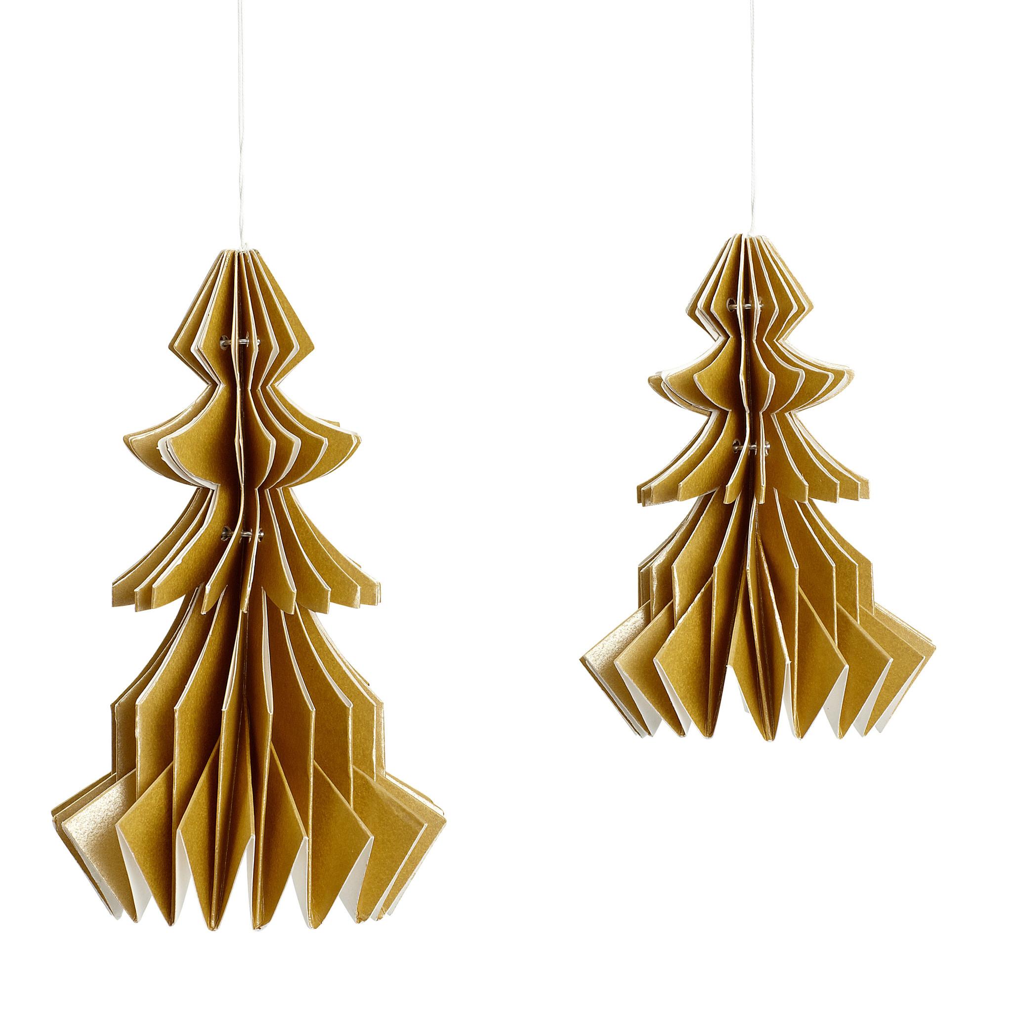 Hubsch Kerstboom om op te hangen, handgevouwen papier, goud, set van 2