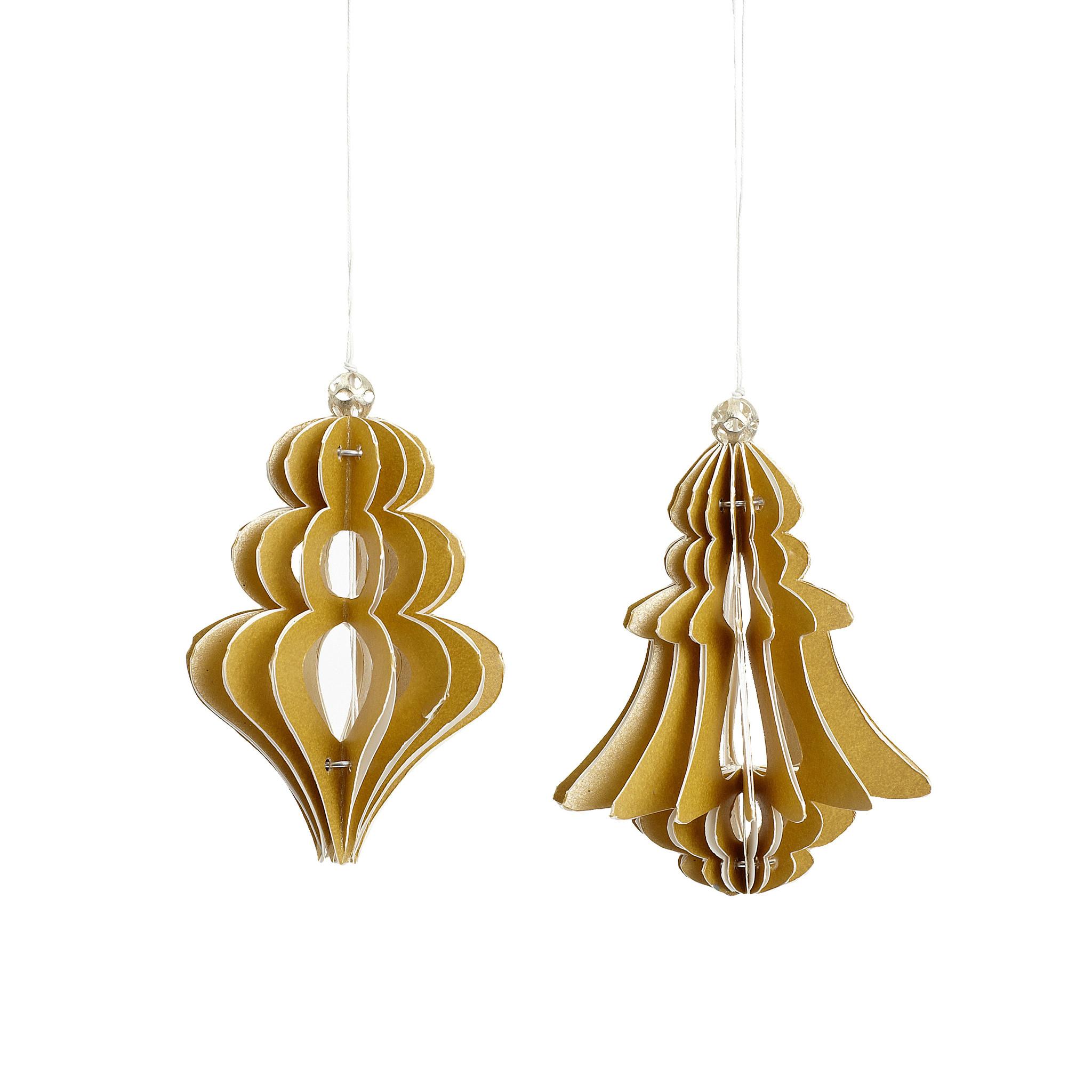 Hubsch Kerstornament, handgevouwen, papier, goud, set van 2-436006-5712772032084