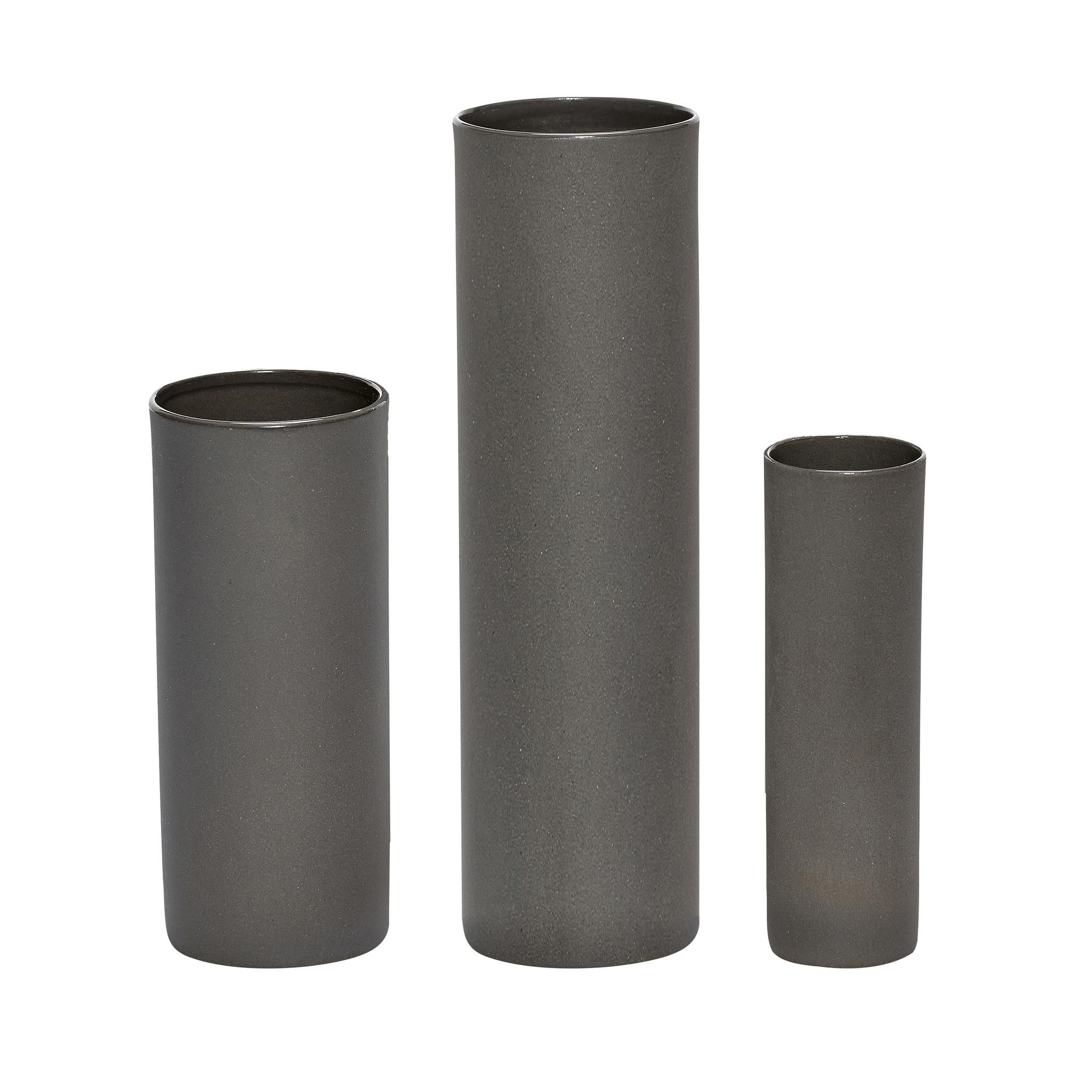 Hubsch Vaas, porselein, grijs, set van 3