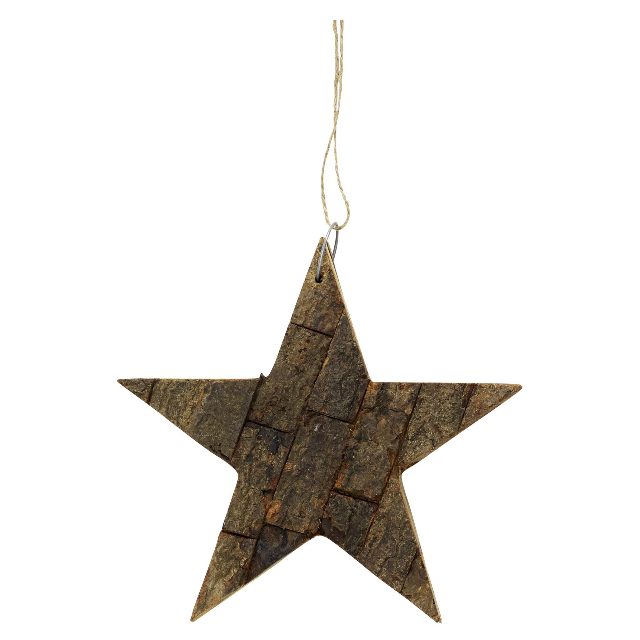 Hubsch Star w / string, hout, natuur, groot