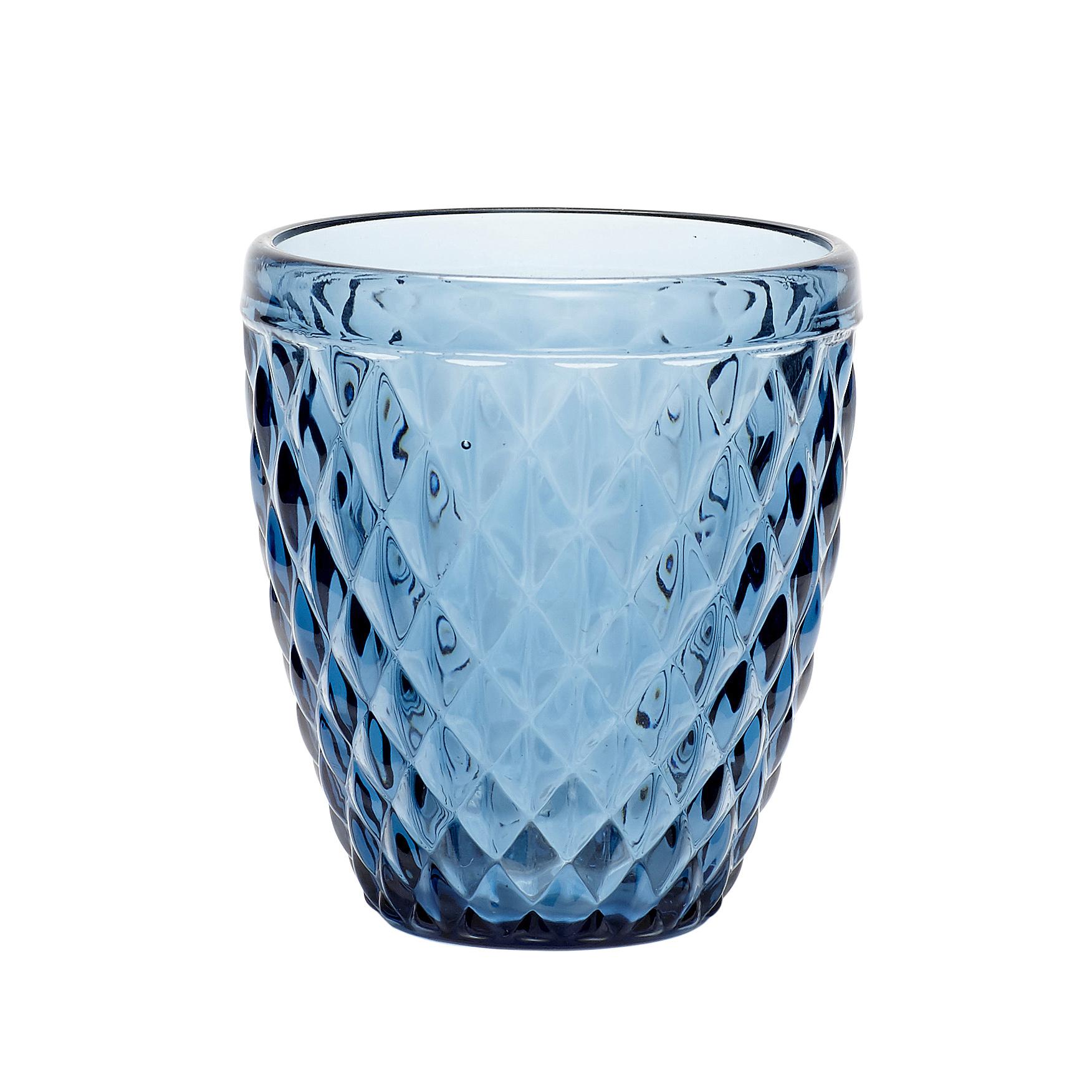 Hubsch Theelichtglas met patroon, blauw