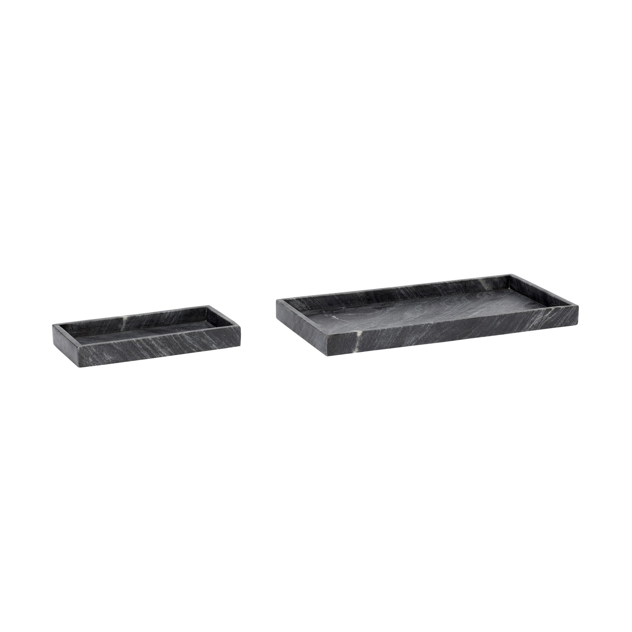 Hubsch Dienbladenset, marmer, zwart, set van 2-510227-5712772052662