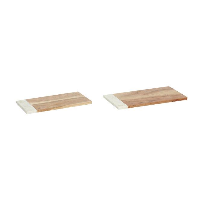 Boord, hout / marmer, natuur / wit, set van 2