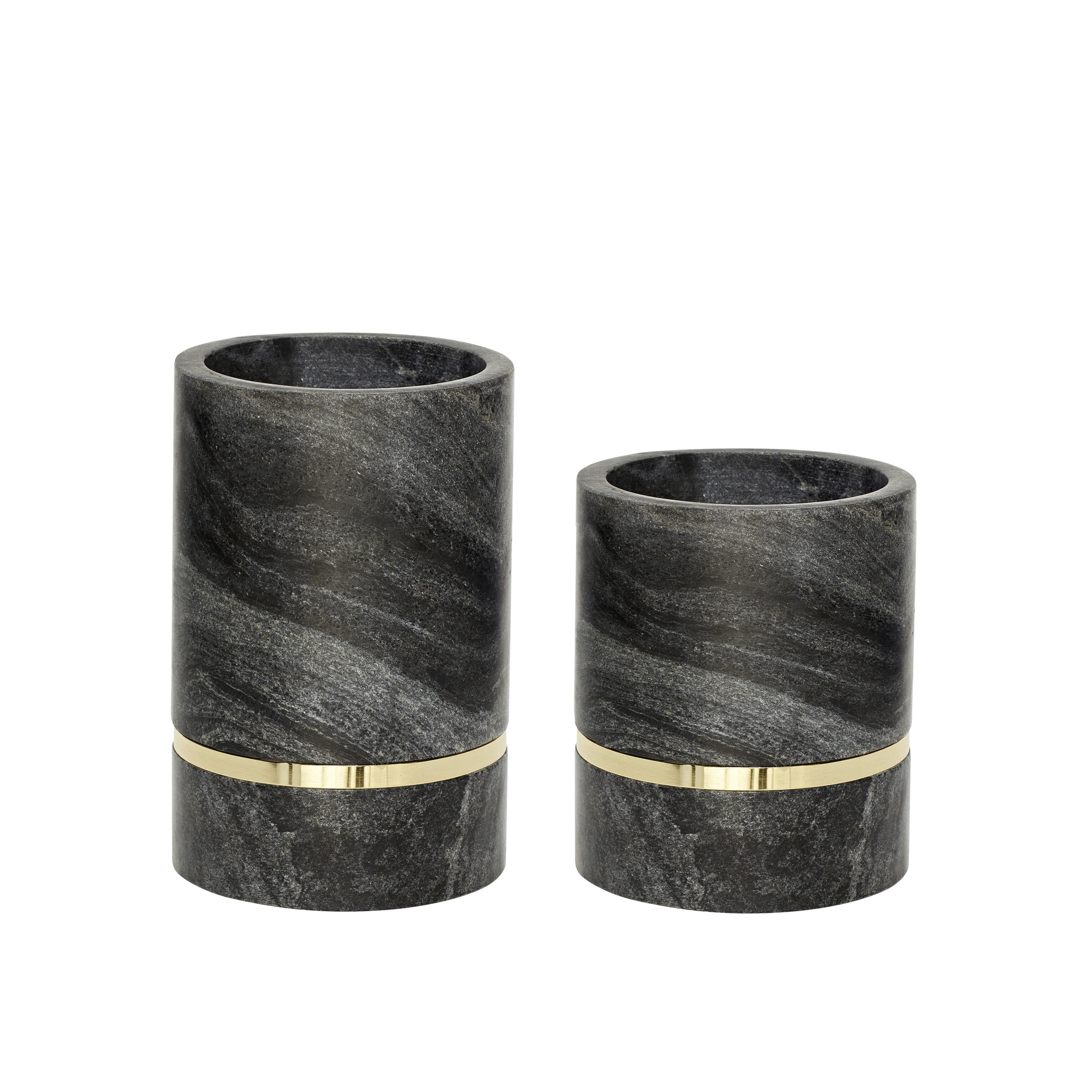 Hubsch Vaas, marmer, zwart / messing, set van 2-510515-5712772062388