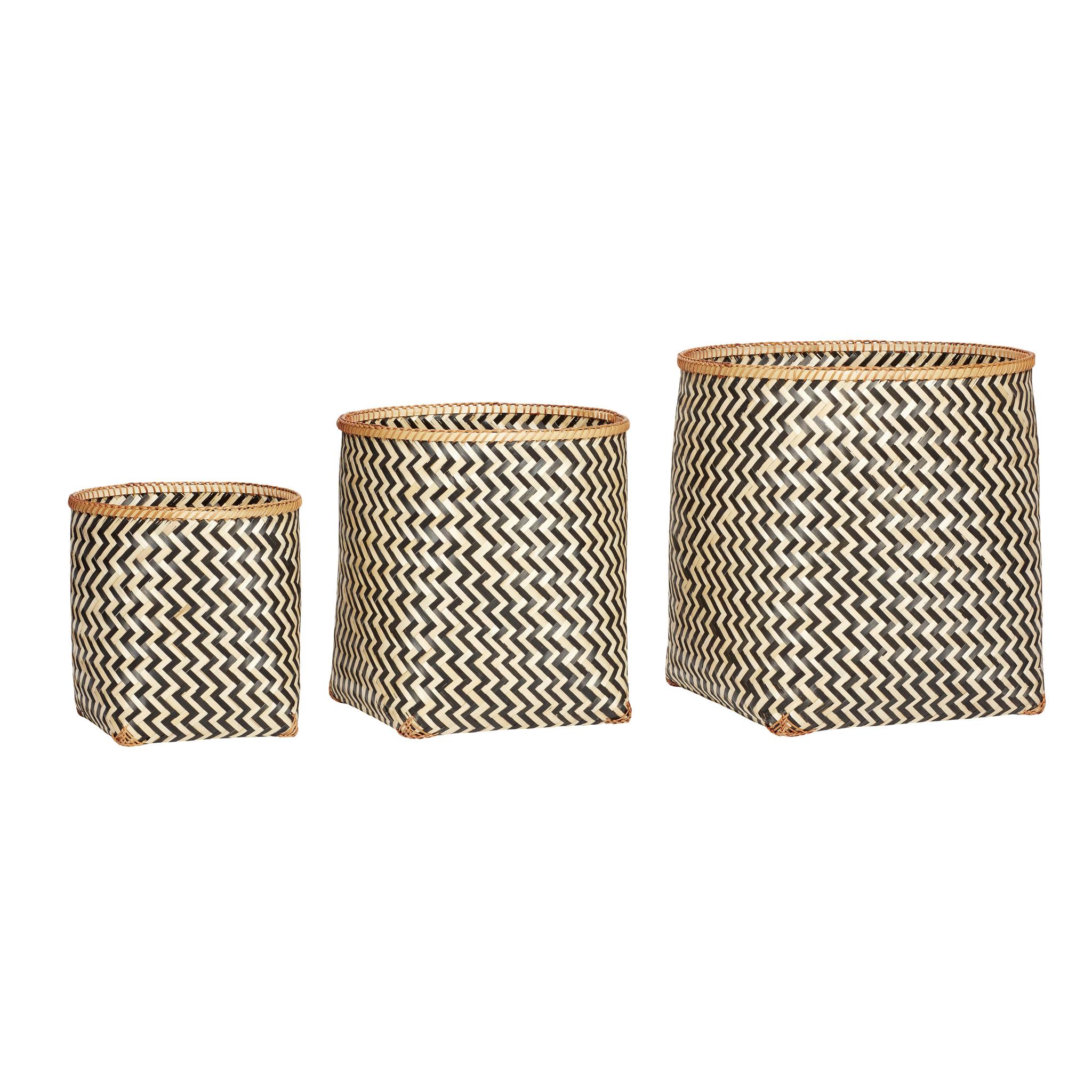 Hubsch Mand, rond, bamboe, natuur / zwart, set van 3-520207-5712772060889