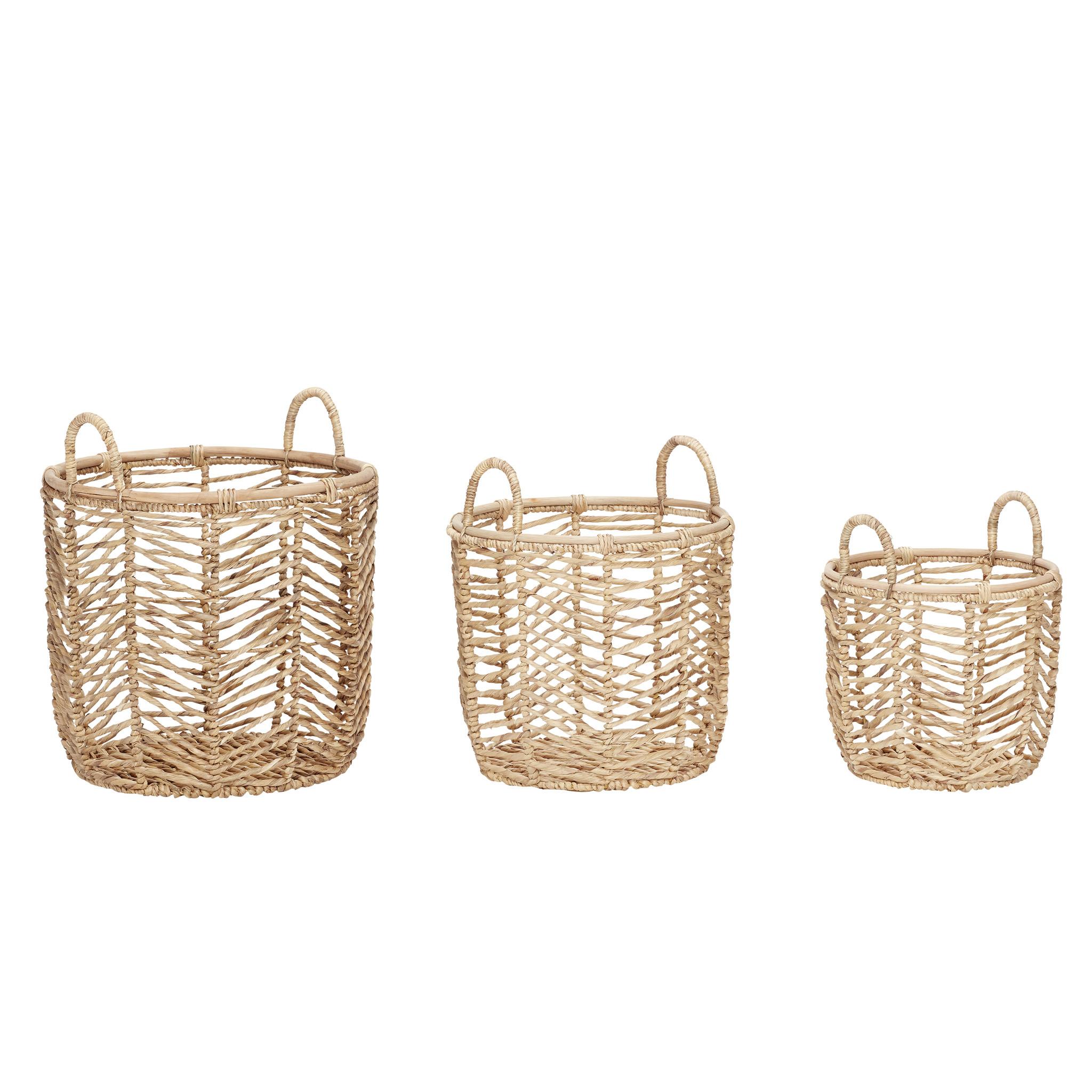 Hubsch Mand met handvat, rond, waterhyacint, natur, set van 3-520504-5712772061145