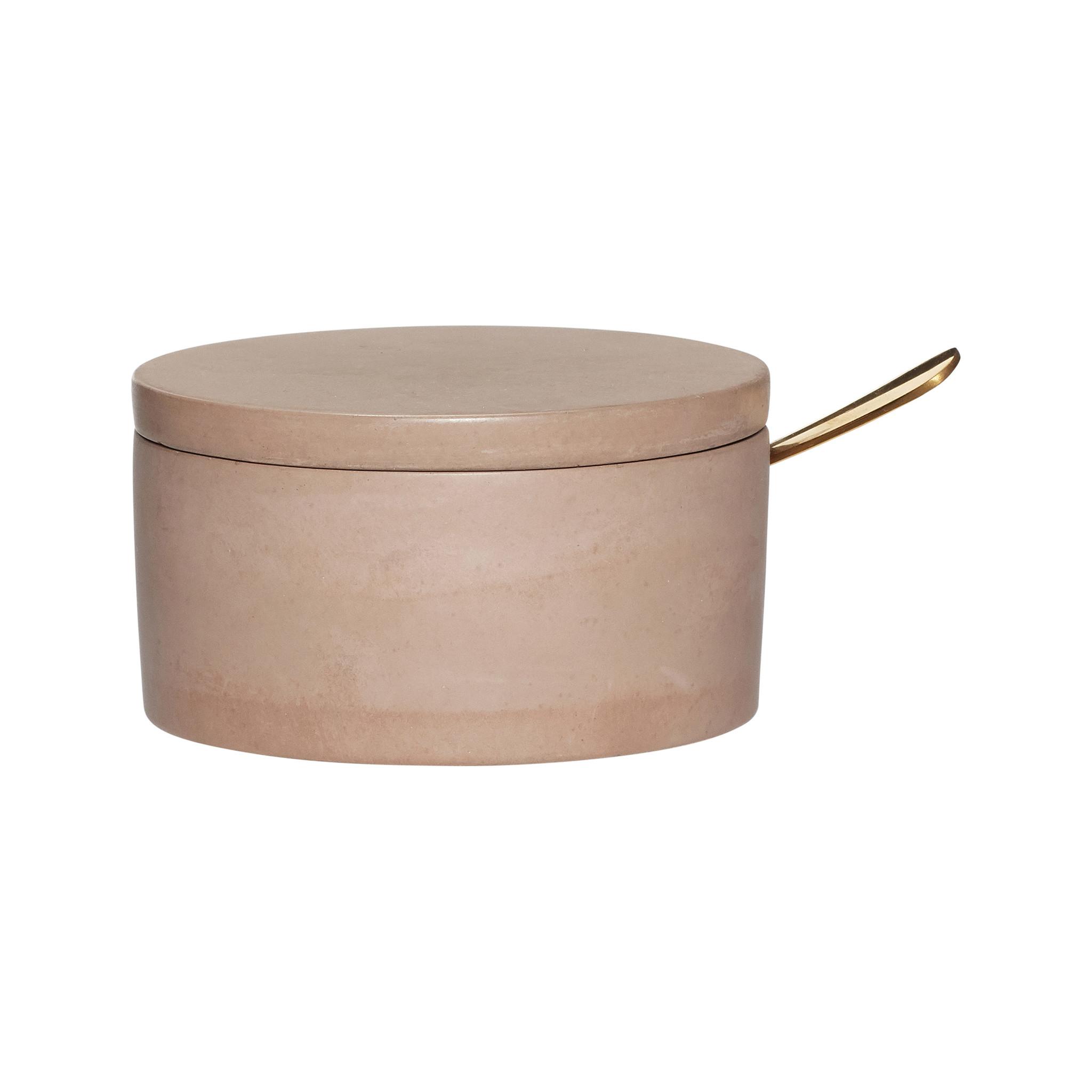 Hubsch Voorraadpot met lepel, deksel, beton, bruin / goud-530602-5712772063576