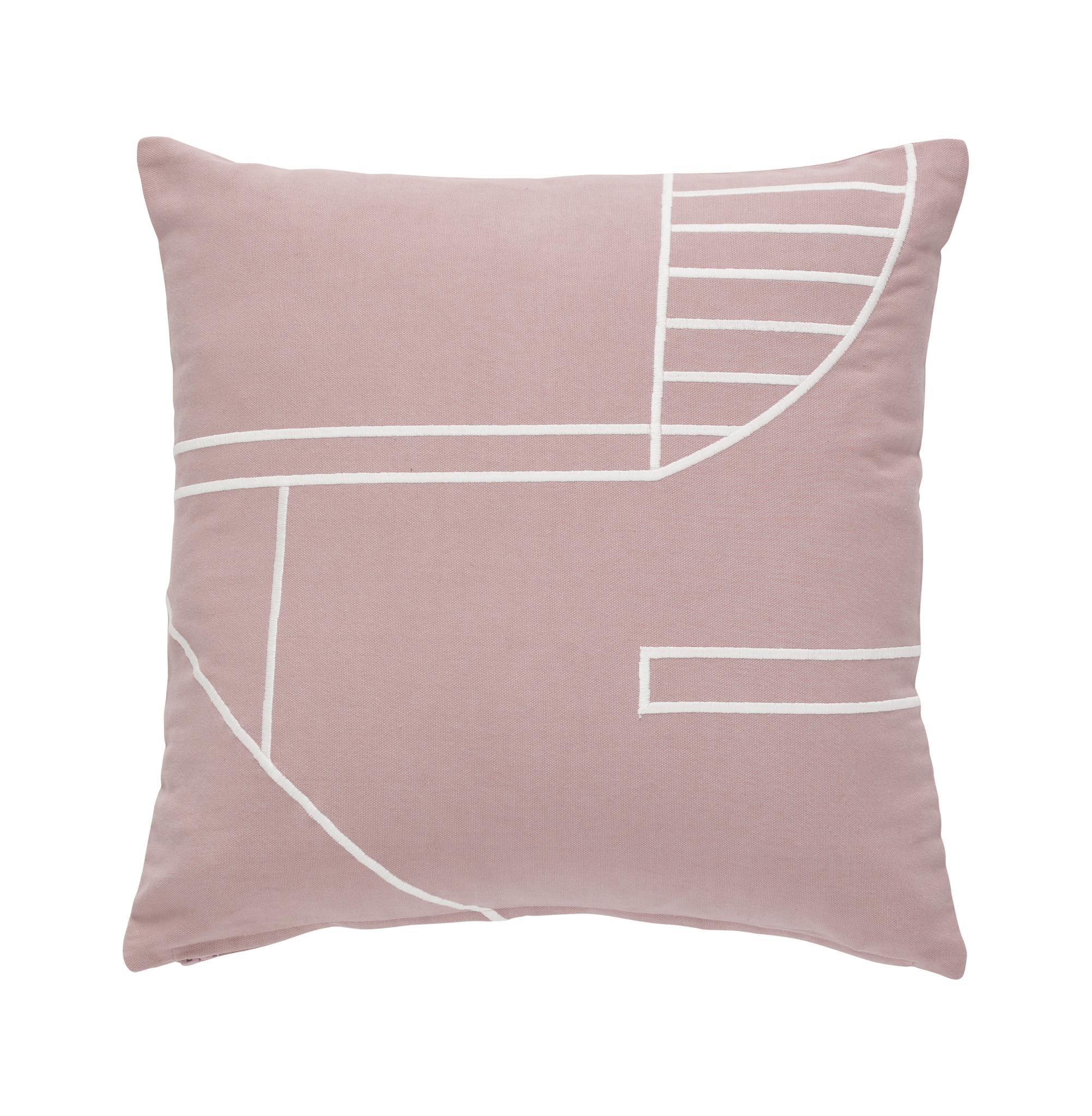 Hubsch Kussen met vuller, katoen, roze / wit