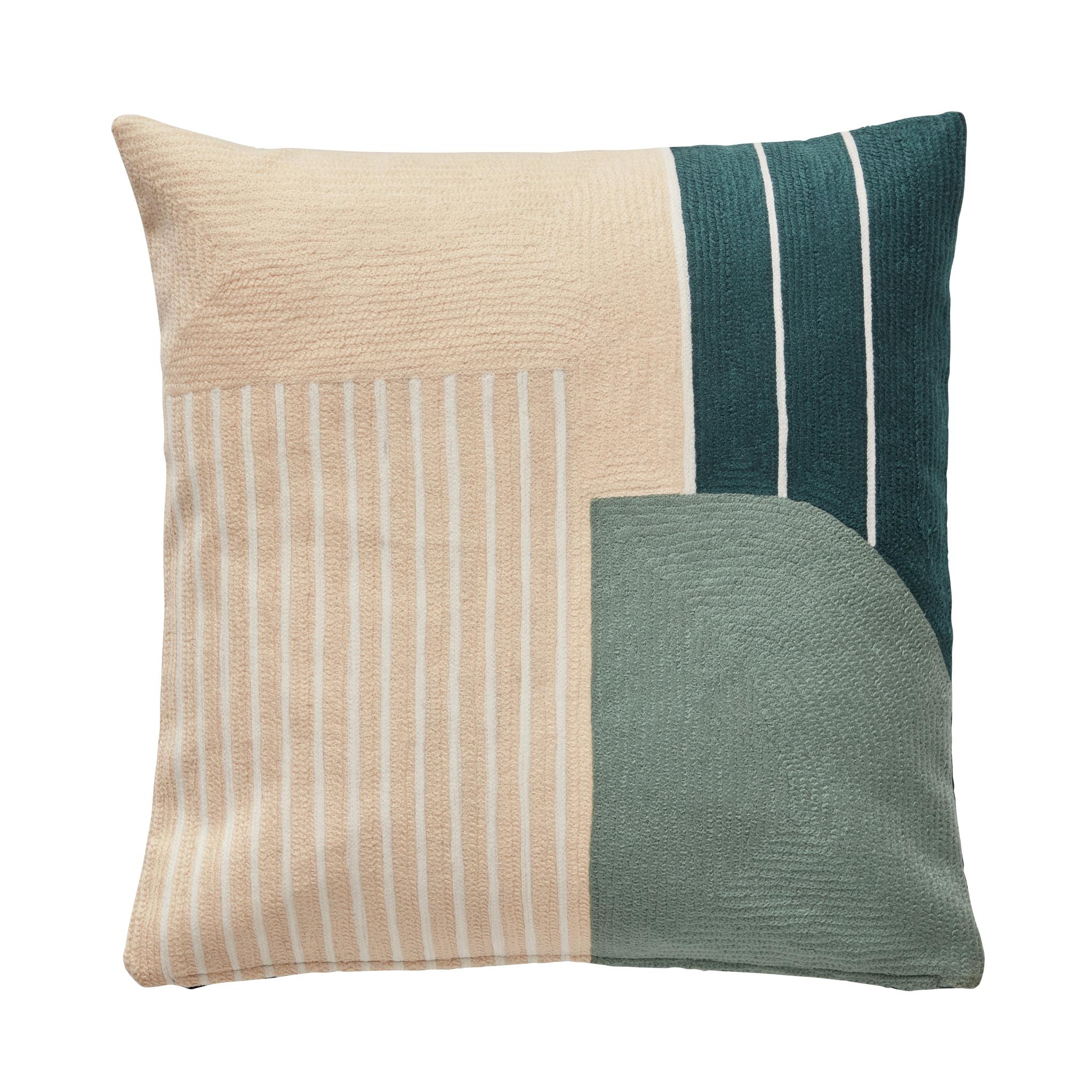 Hubsch Kussen met vuller, katoen, beige / groen / wit