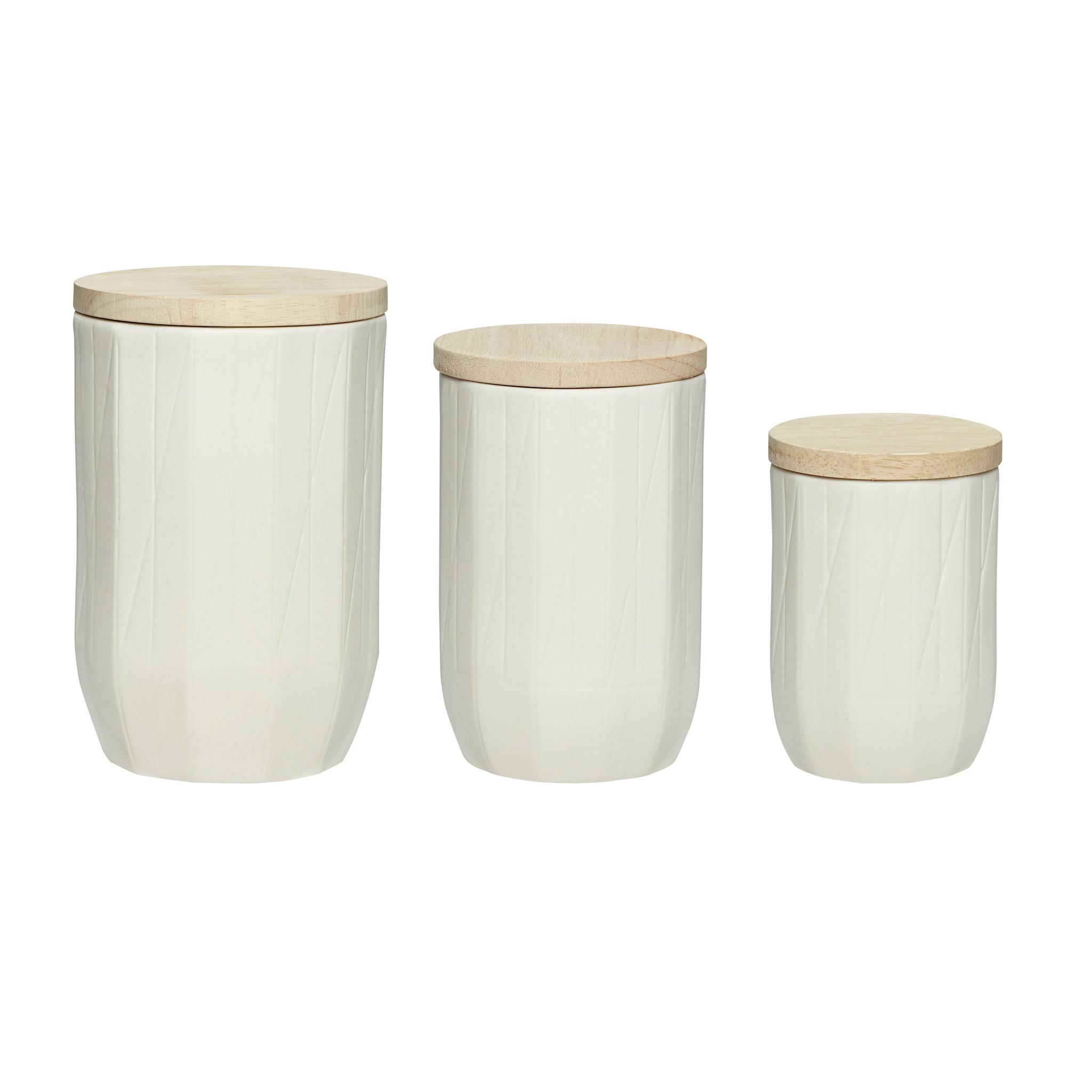 Hubsch Pot met deksel, porselein / hout, wit / natuur, set van 3