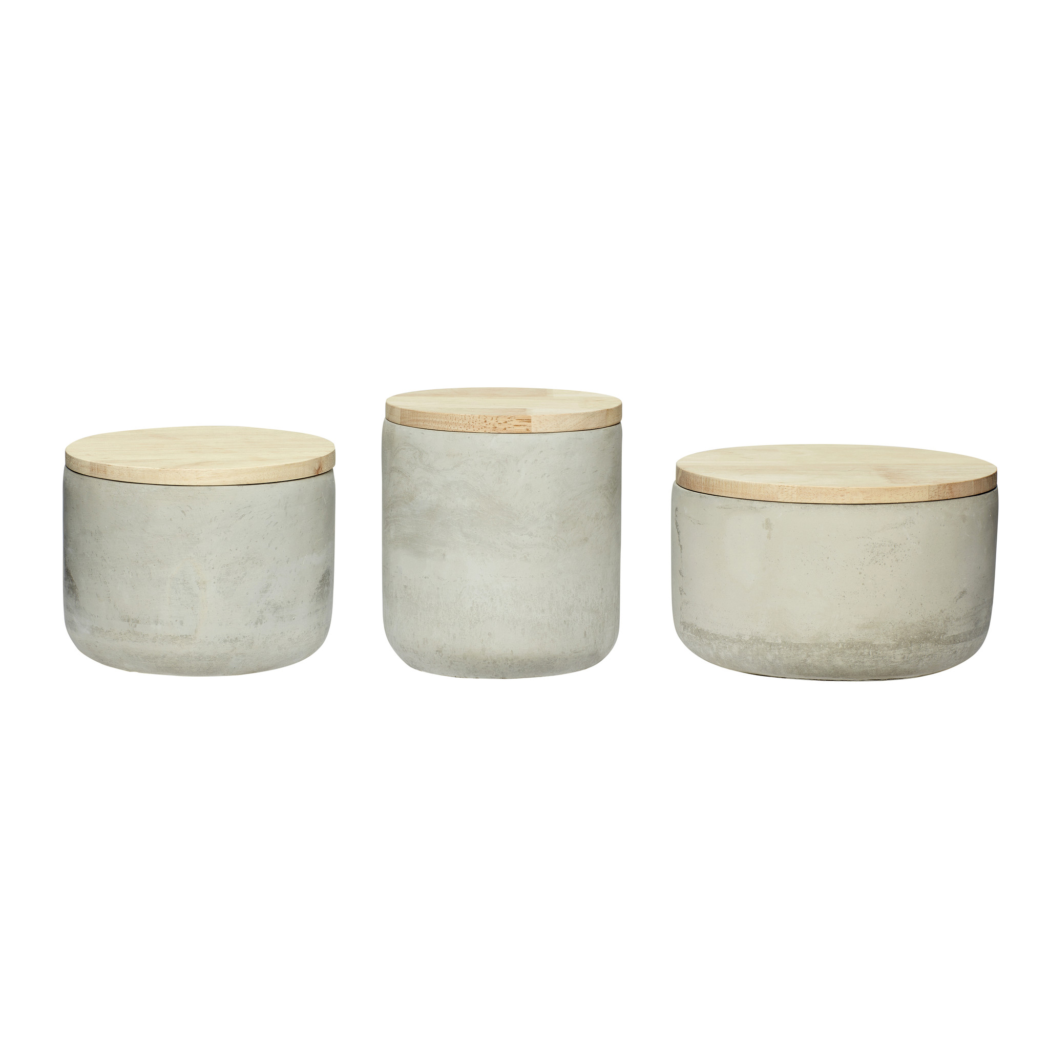 Hubsch Pot met deksel, beton / hout, natuur, set van 3-640217-5712772051726