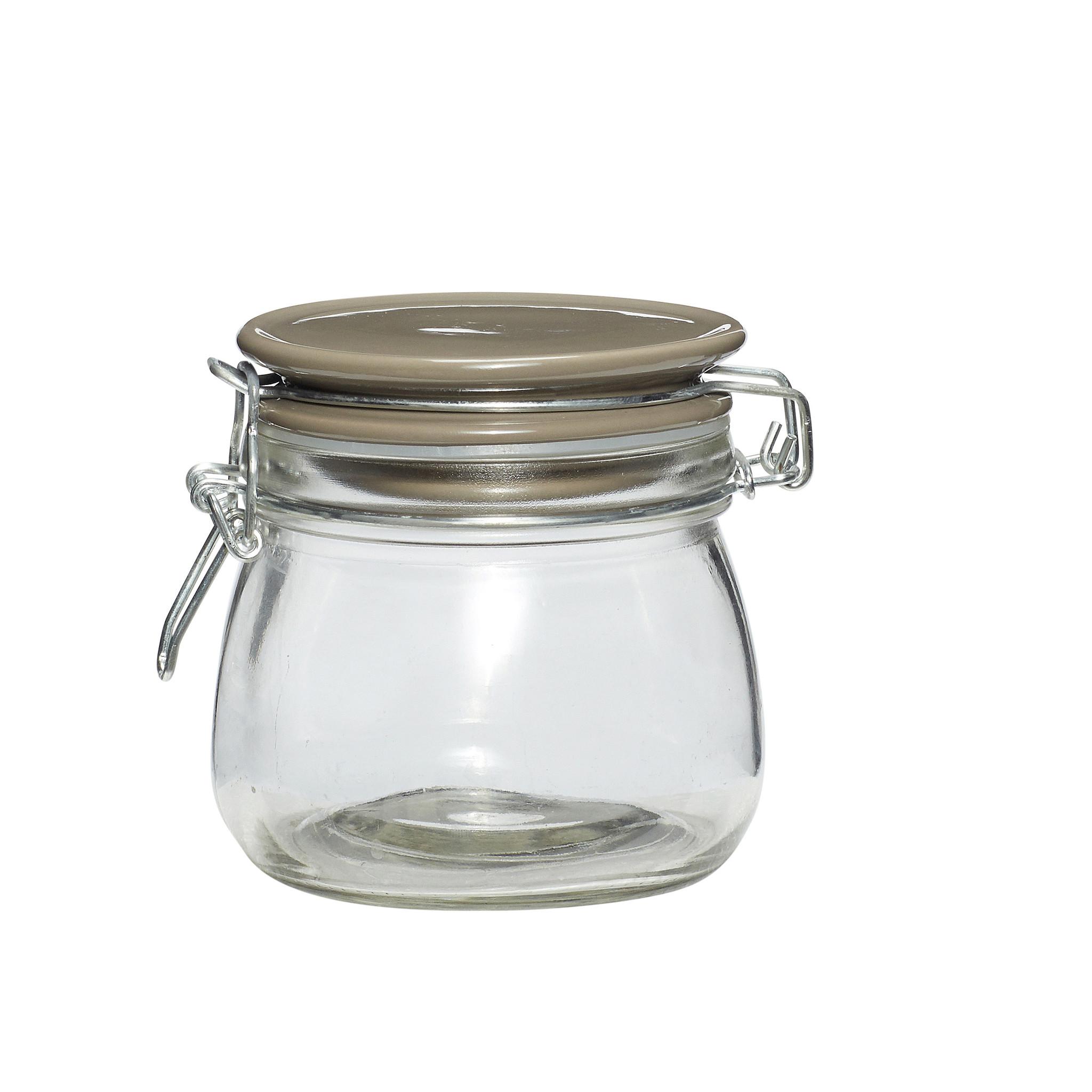 Hubsch Voorraadpot met hermetisch deksel, glaset van keramiek, grijs, groot-640220-5712772051757