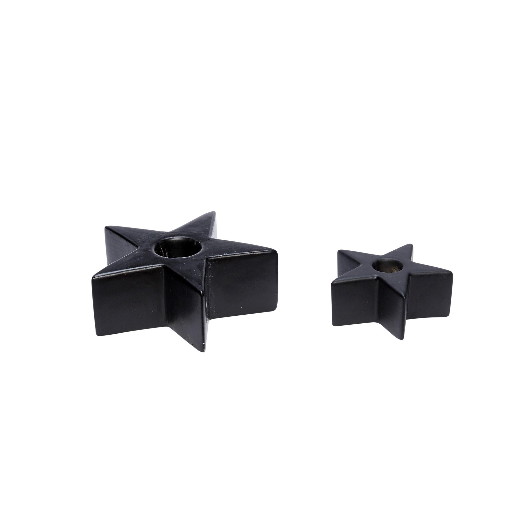 Hubsch Kandelaar, ster, porselein, zwart, set van 2-640321-5712772057117