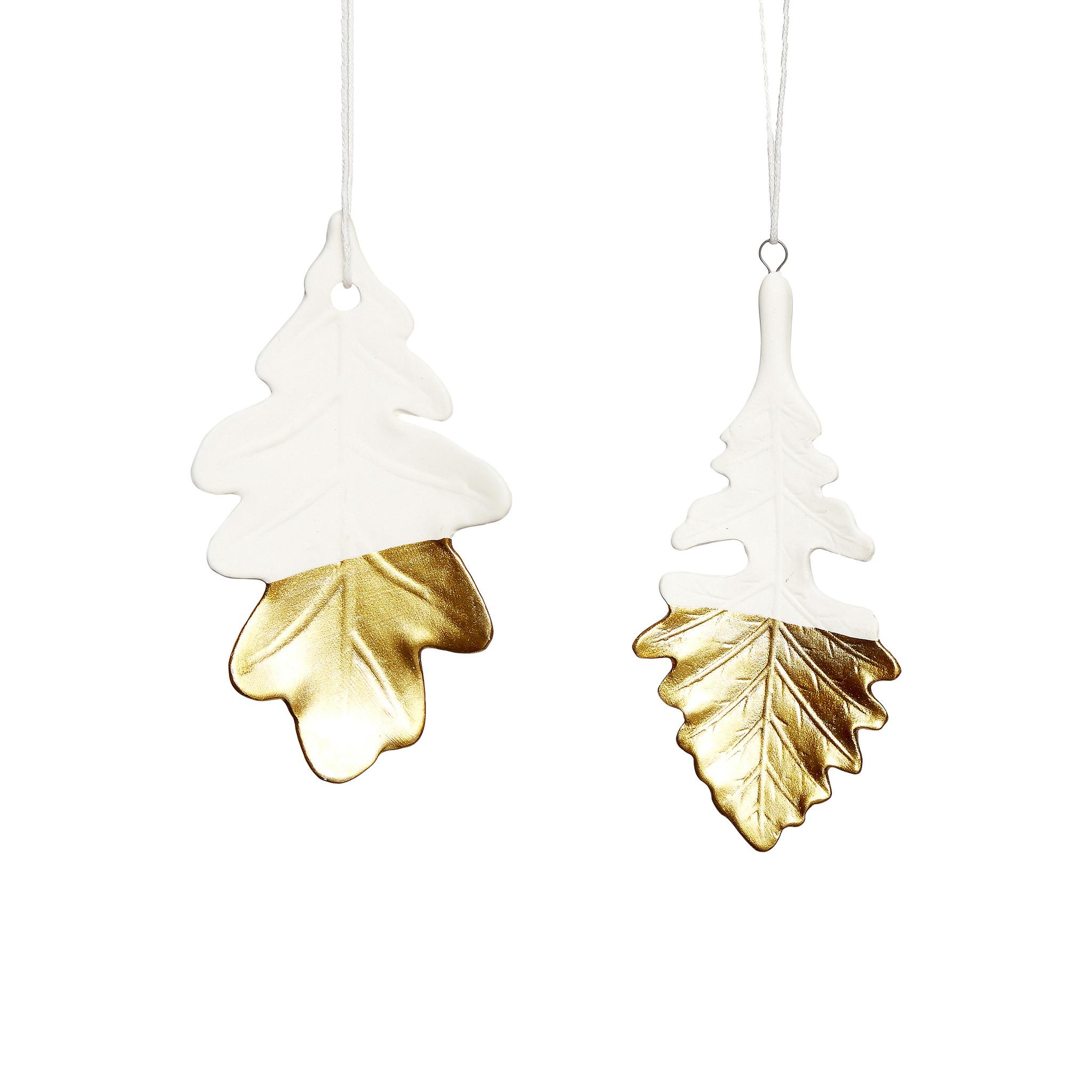 Hubsch Blad, porselein, wit / goud, set van 2-640322-5712772057162