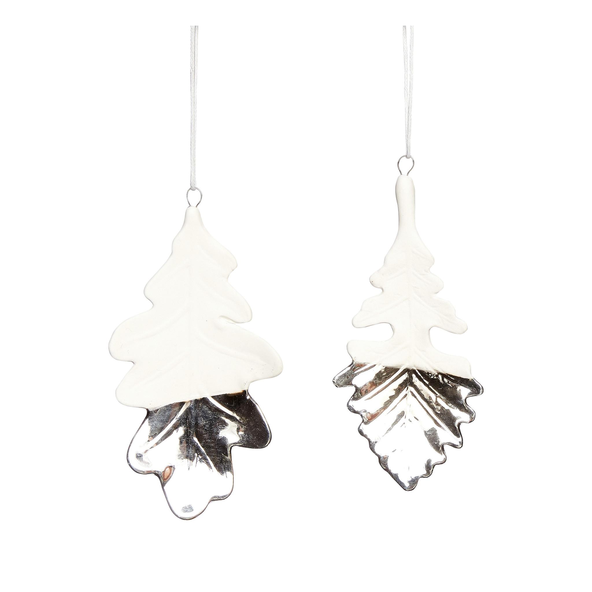 Hubsch Blad, porselein, wit / zilver, set van 2-640324-5712772057230