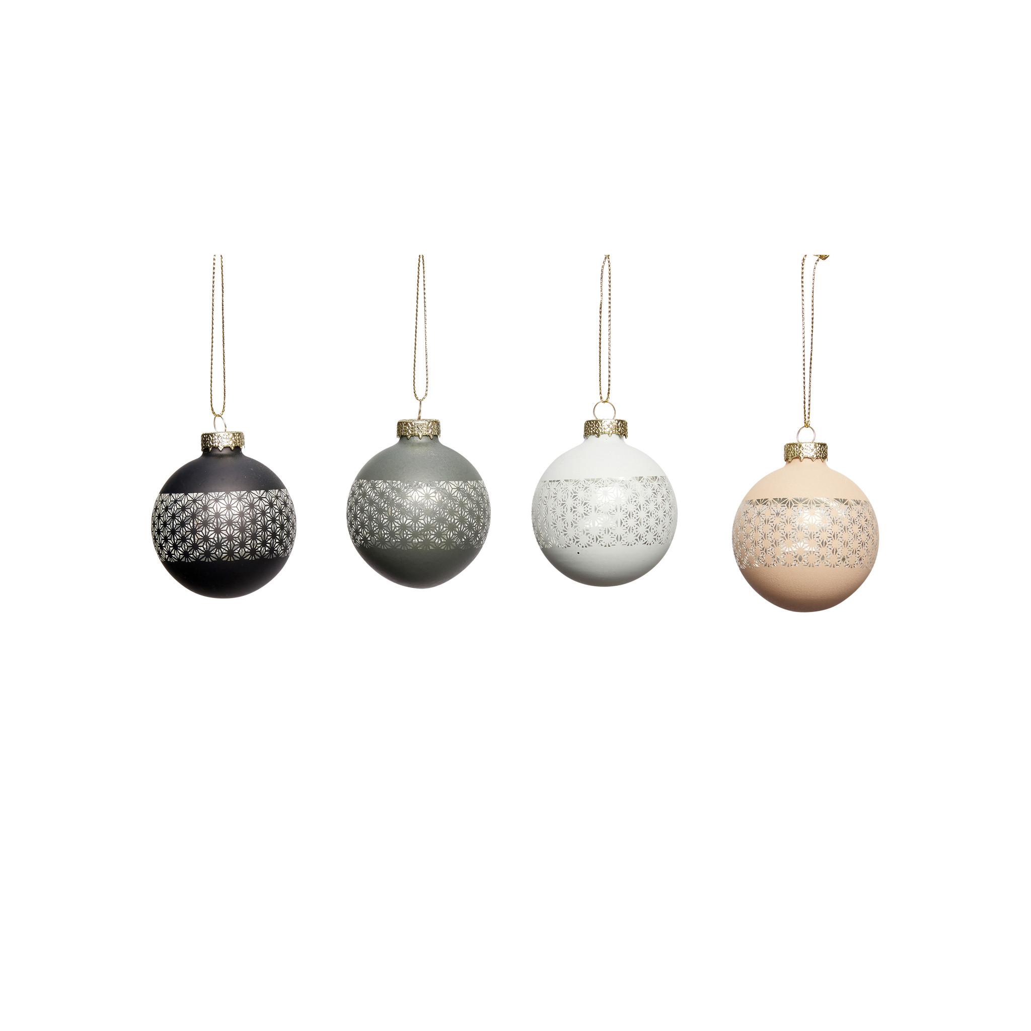 Hubsch Kerstbal, kunststof, zwart / blauw / donkerblauw / roze, klein, set van 4