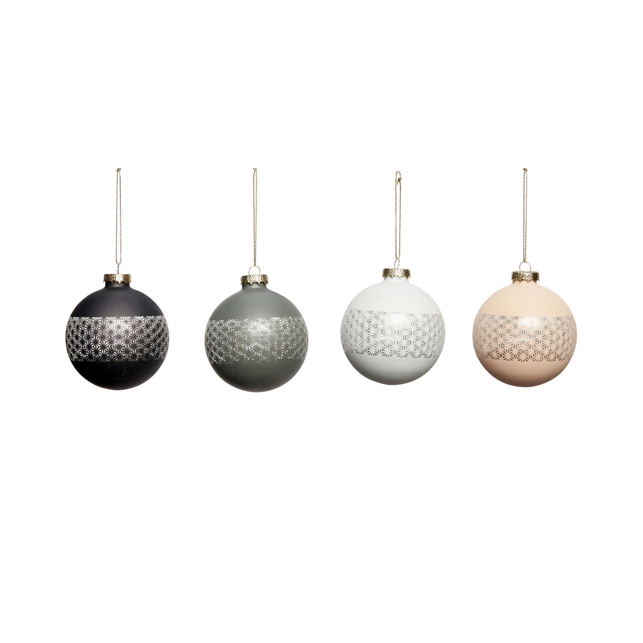 Hubsch Kerstbal, plast, zwart / blauw / donkerblauw / rose, groot, set van 4