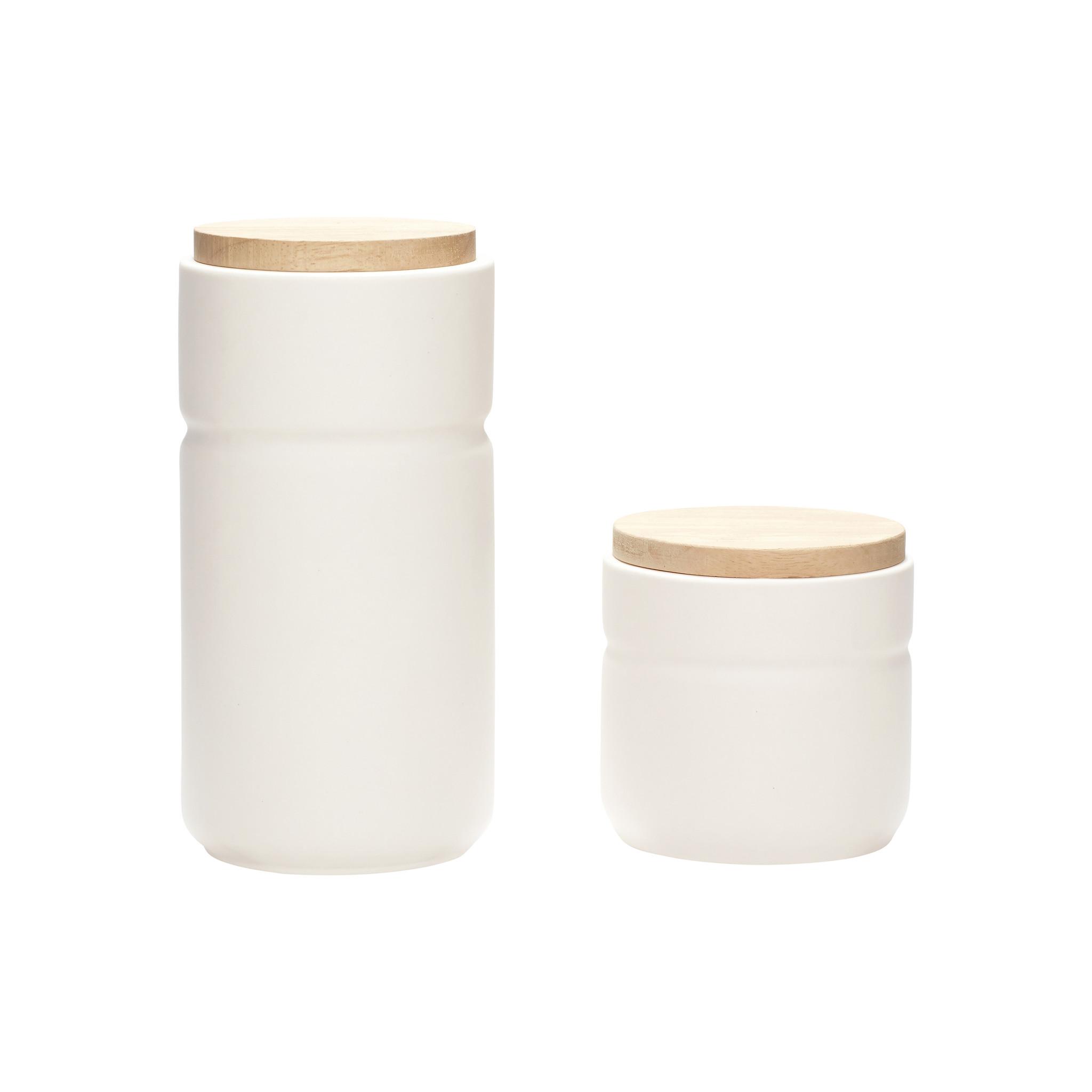 Hubsch Pot met deksel, keramiek, wit / natuur, set van 2-640403-5712772057353