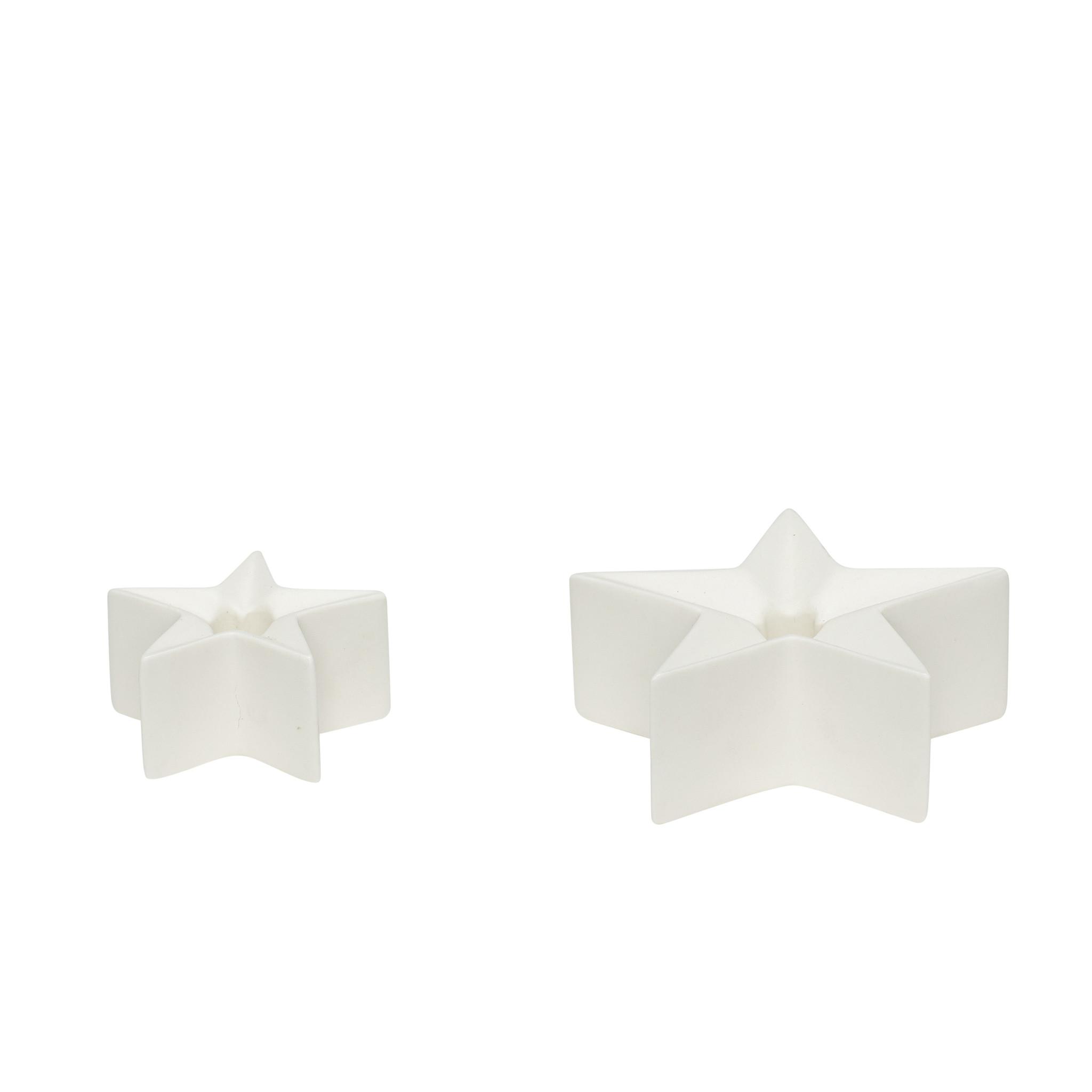 Hubsch Kandelaar, ster, porselein, wit, set van 2
