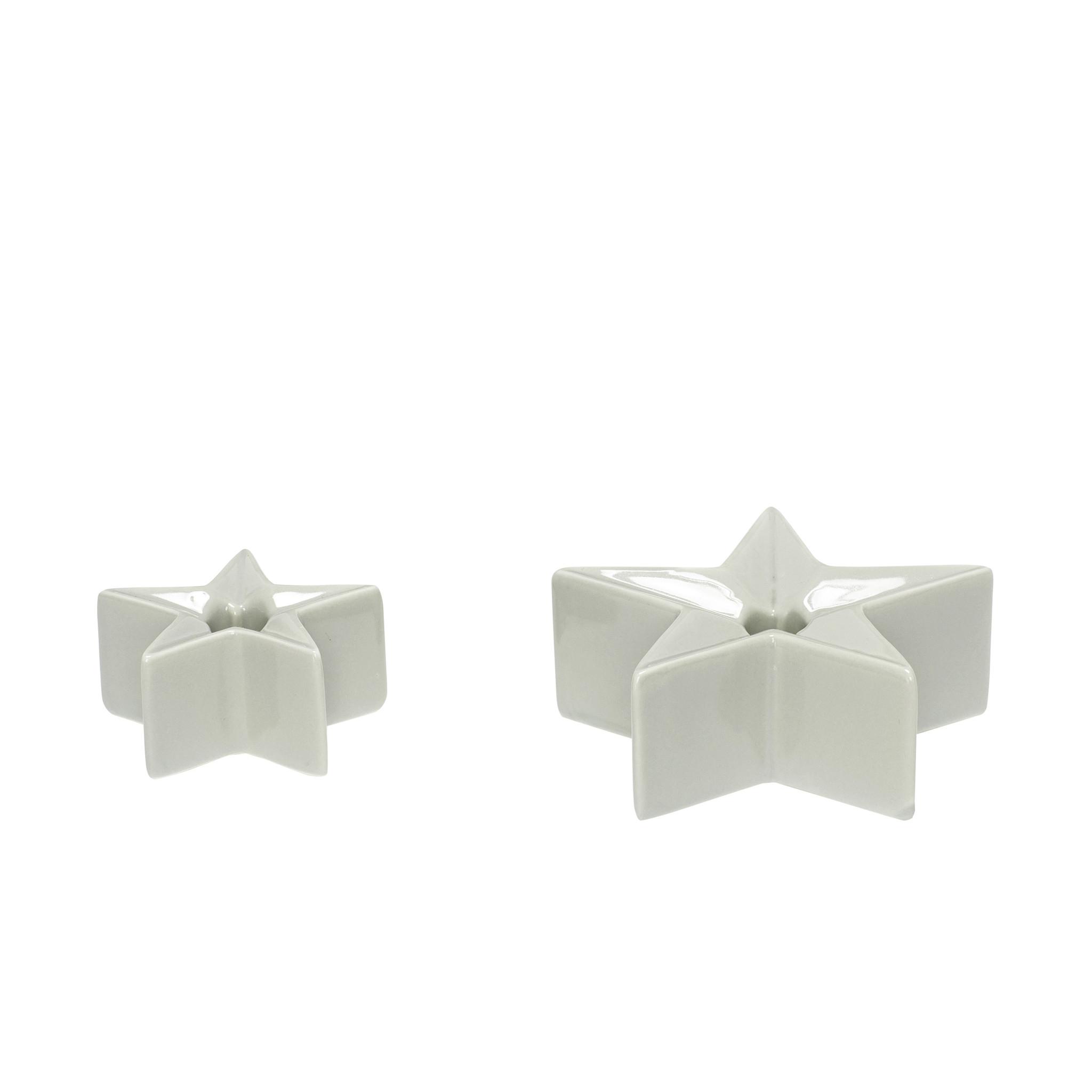 Hubsch Kandelaar, ster, porselein, grijs, set van 2-640502-5712772058008