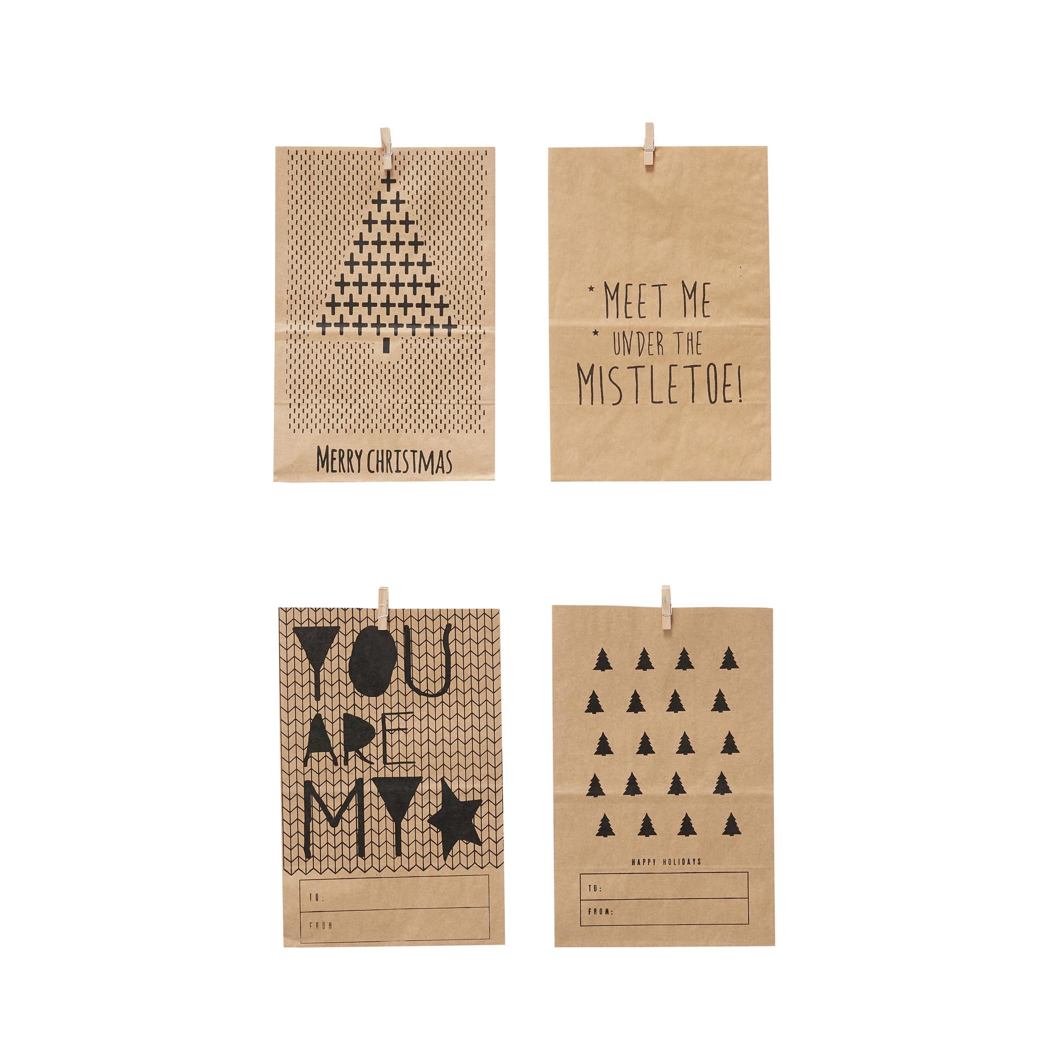 Hubsch Tas met print, papier, bruin / zwart, set van 4