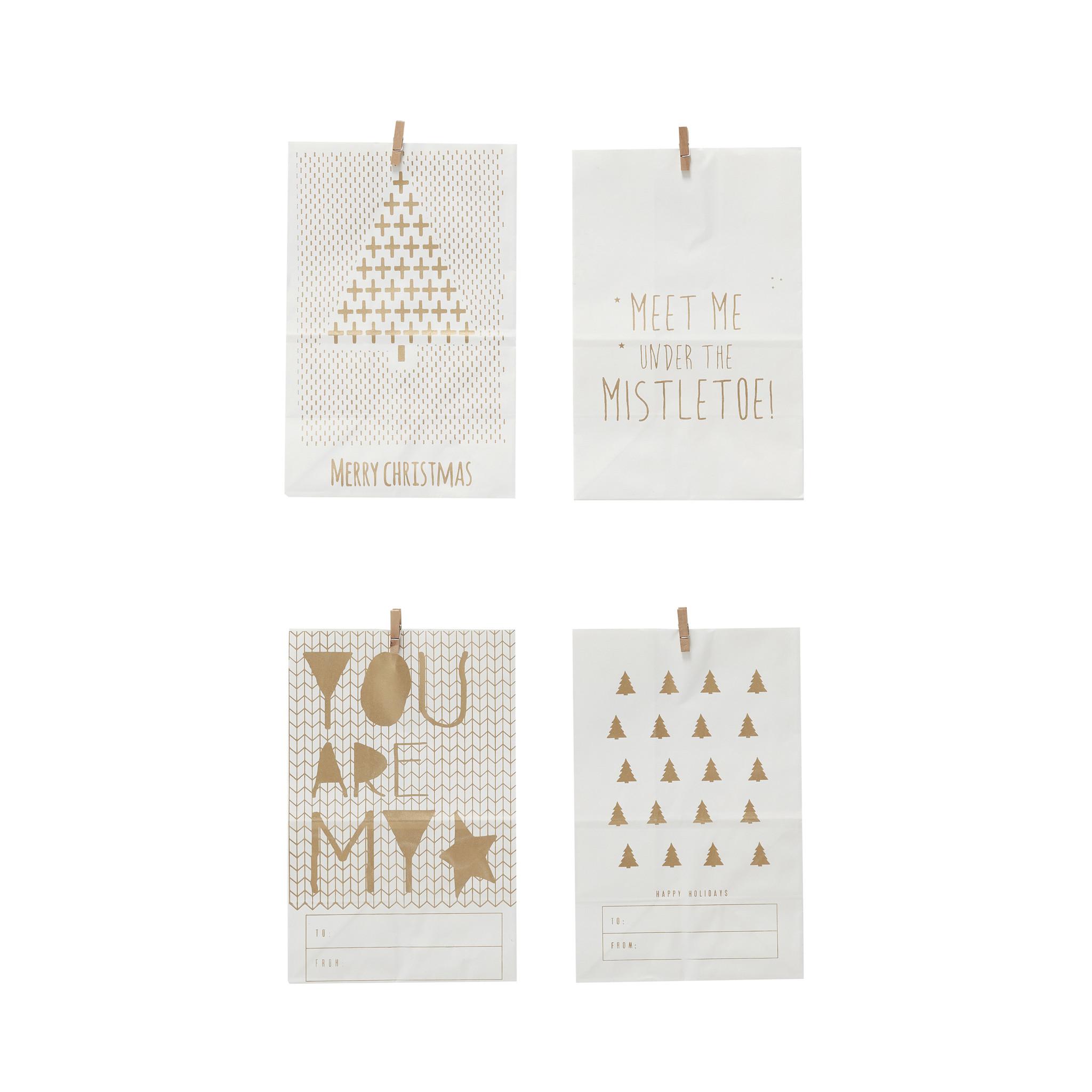 Hubsch Tas met print, papier, wit / goud, set van 4-640504-5712772062562