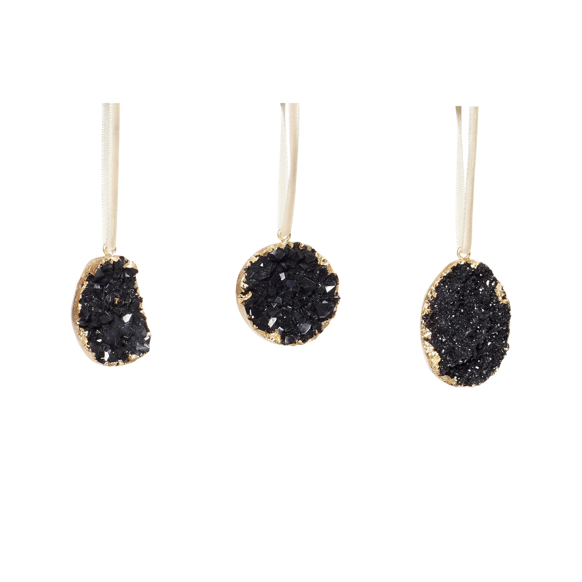 Hubsch Kerstornament, kunststof, zwart / goud, set van 3-640705-5712772066744