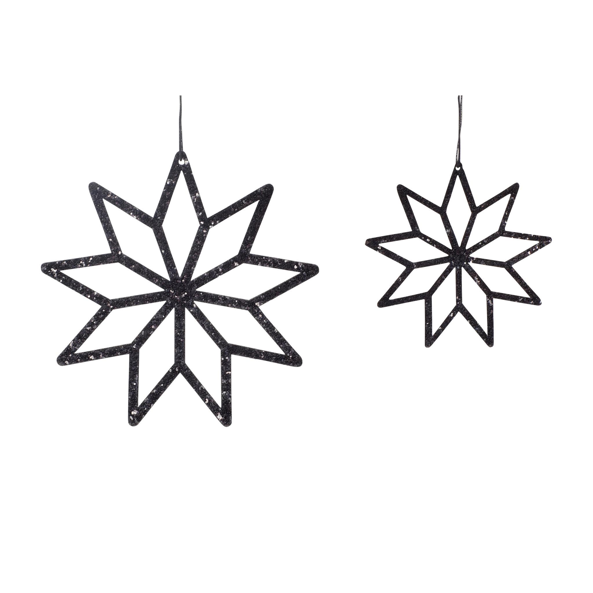 Hubsch Ster, stof, zwart, set van 2-640713-5712772066805