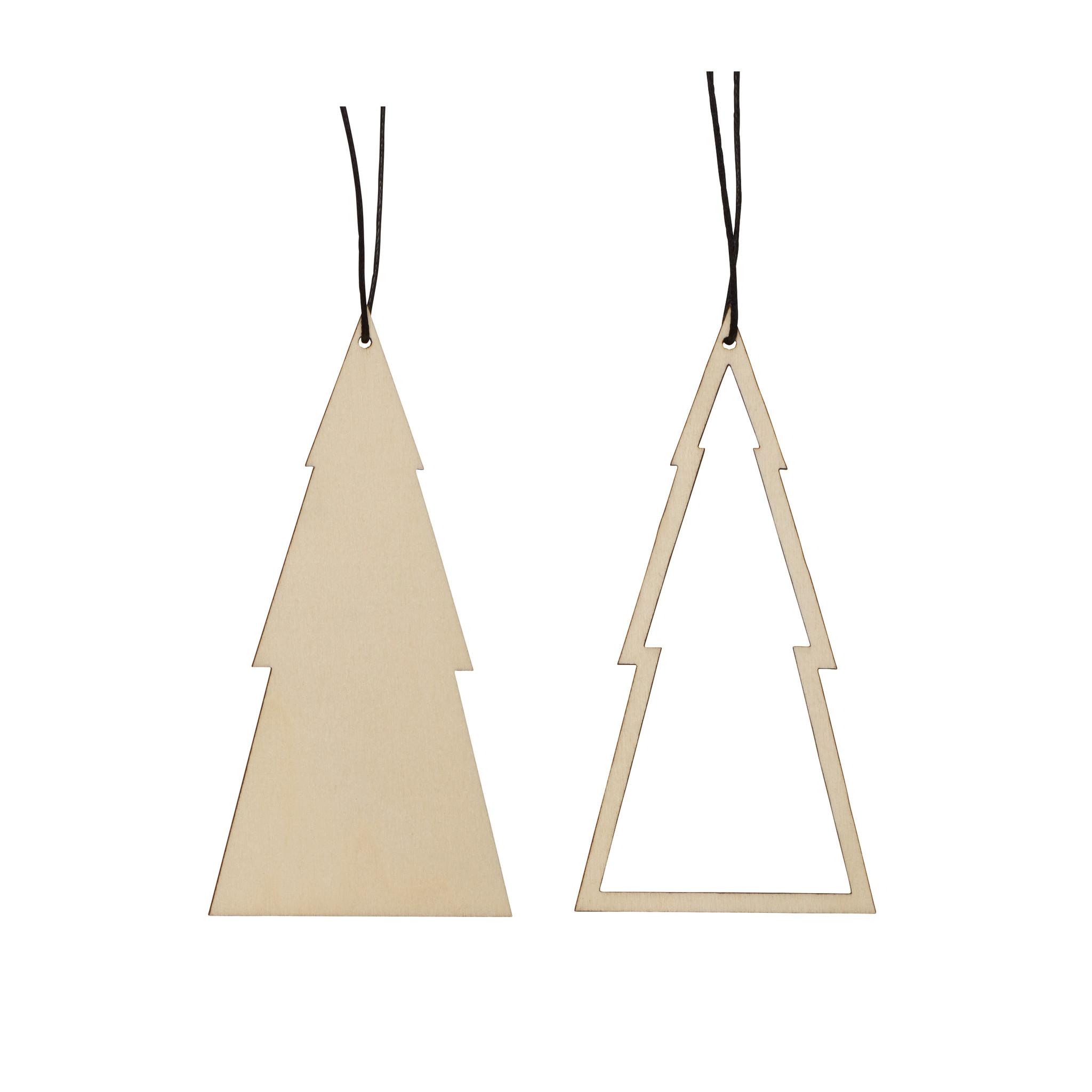 Hubsch Kerstornament, hout, natuur, set van 2