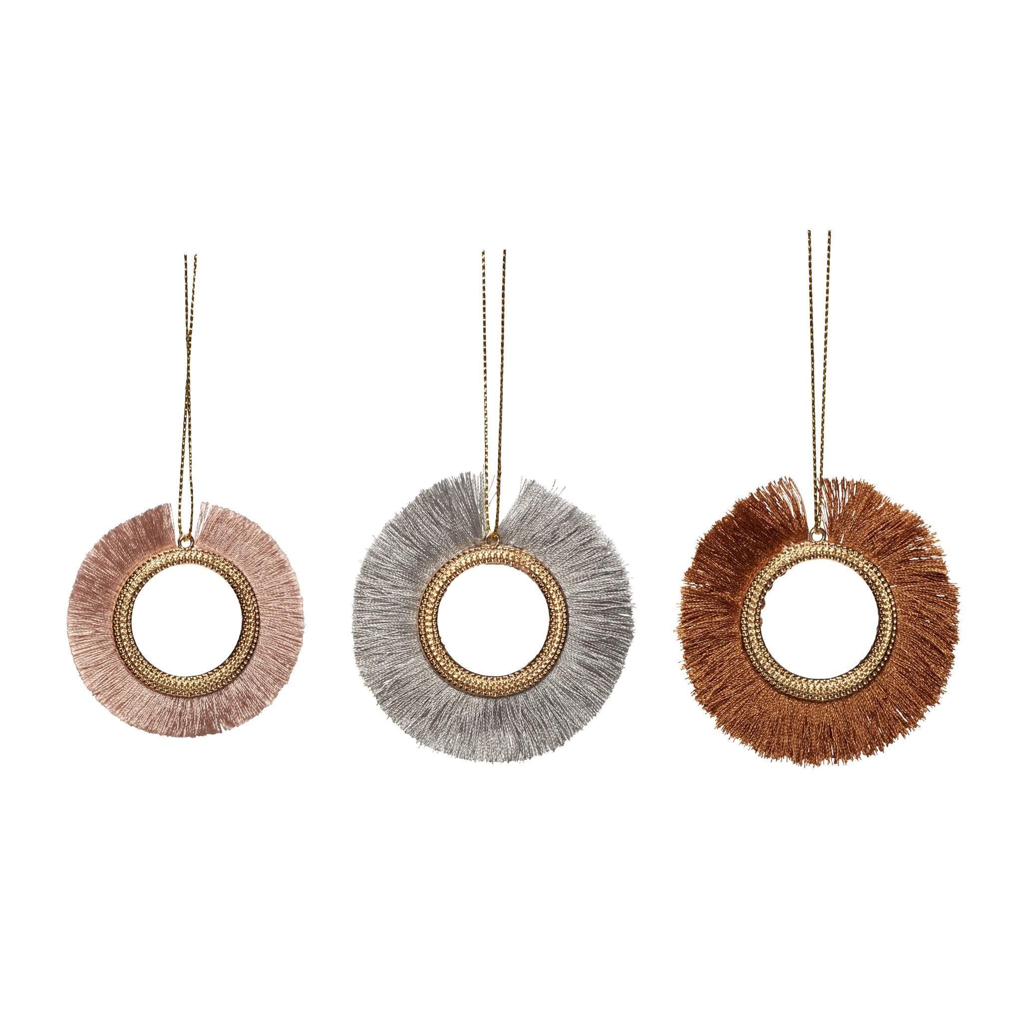 Hubsch Kerstornament, metaal / string, blauw / bordeaux / roze, set van 3