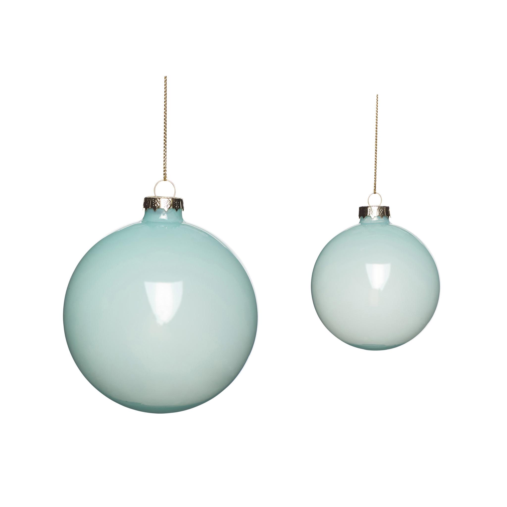 Hubsch Kerstbal, glas, blauw, set van 2-640917-5712772071519