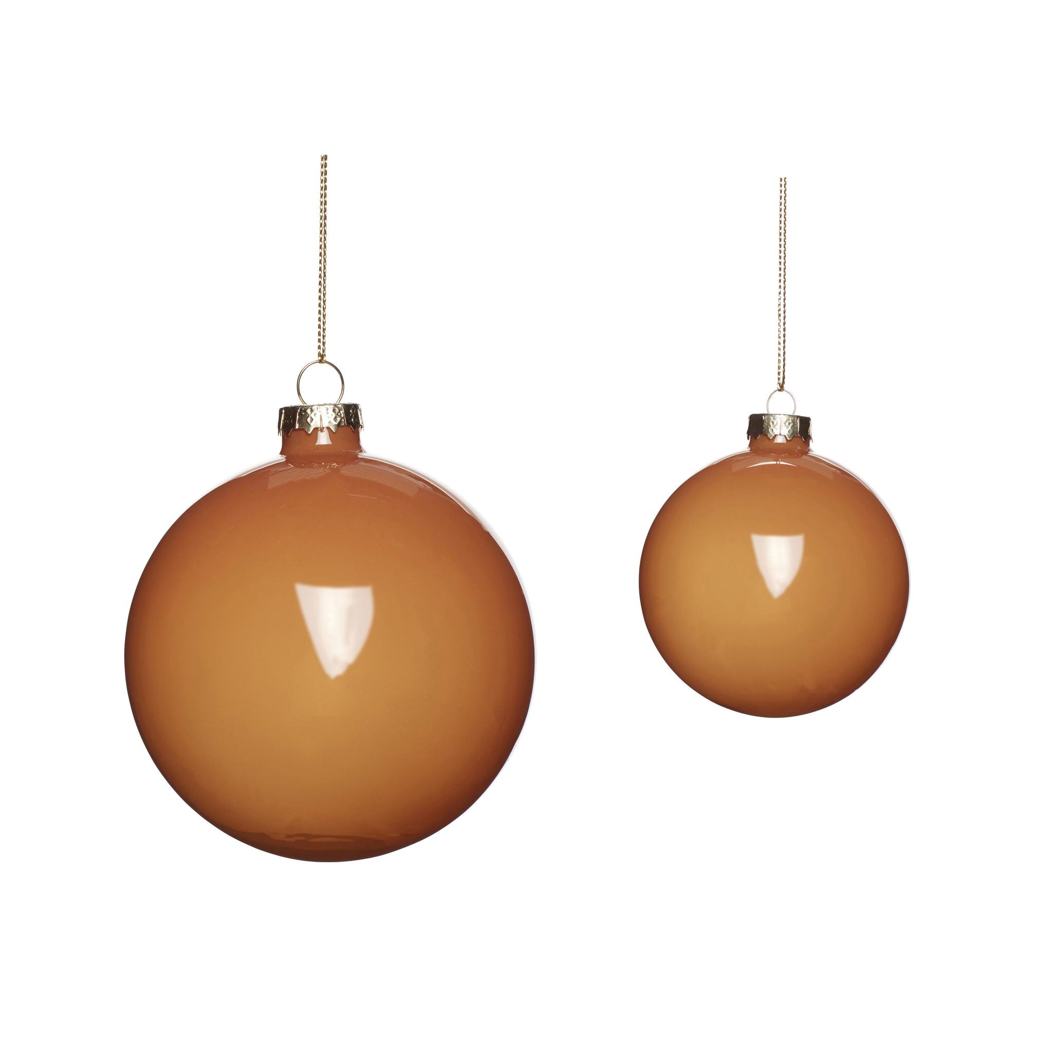 Hubsch Kerstbal, glas, barnsteen, set van 2-640918-5712772071496