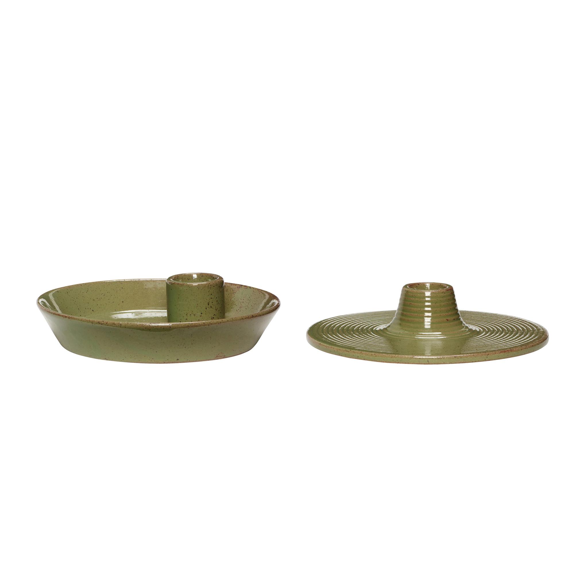 Hubsch Kandelaar, porselein, groen, set van 2-640921-5712772071434