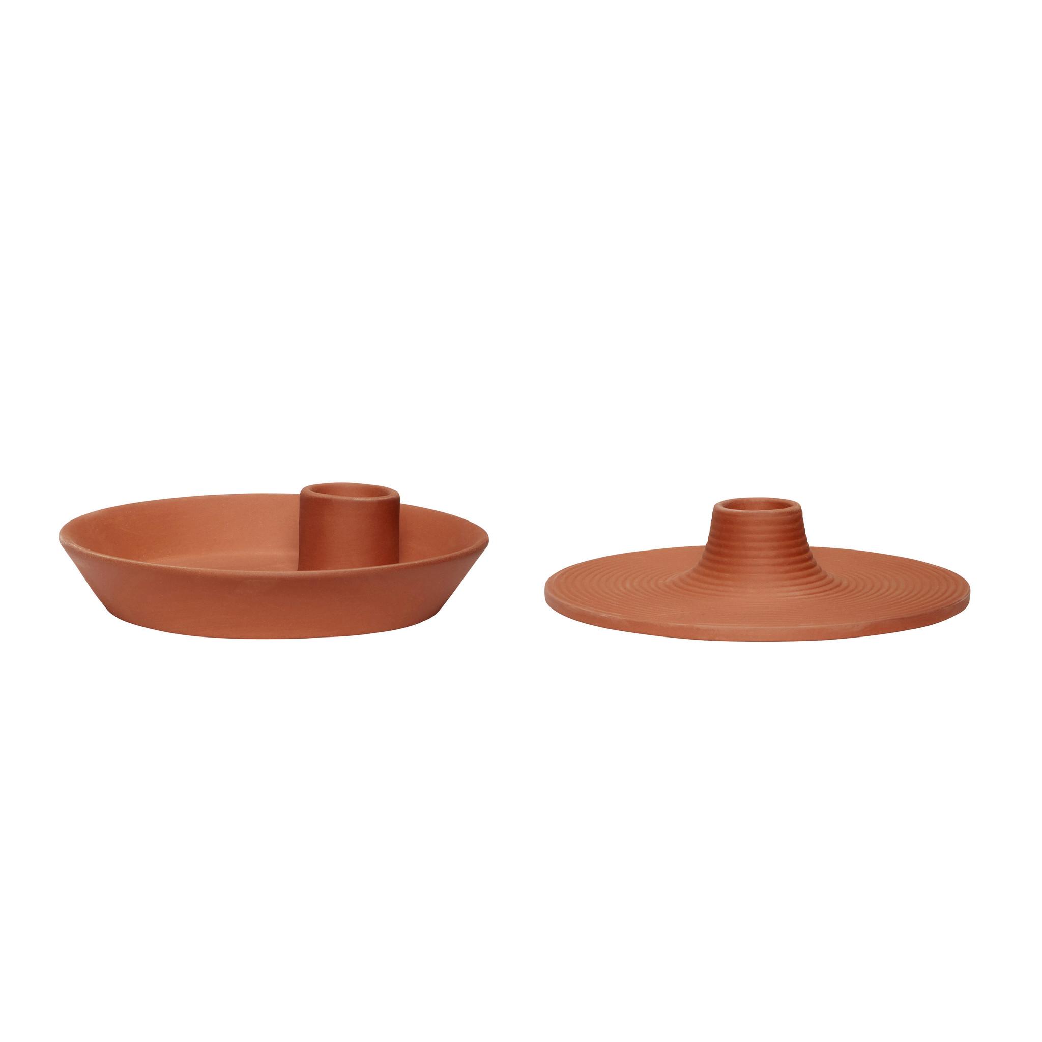 Hubsch Kandelaar, porselein, terracotta, set van 2-640922-5712772071403