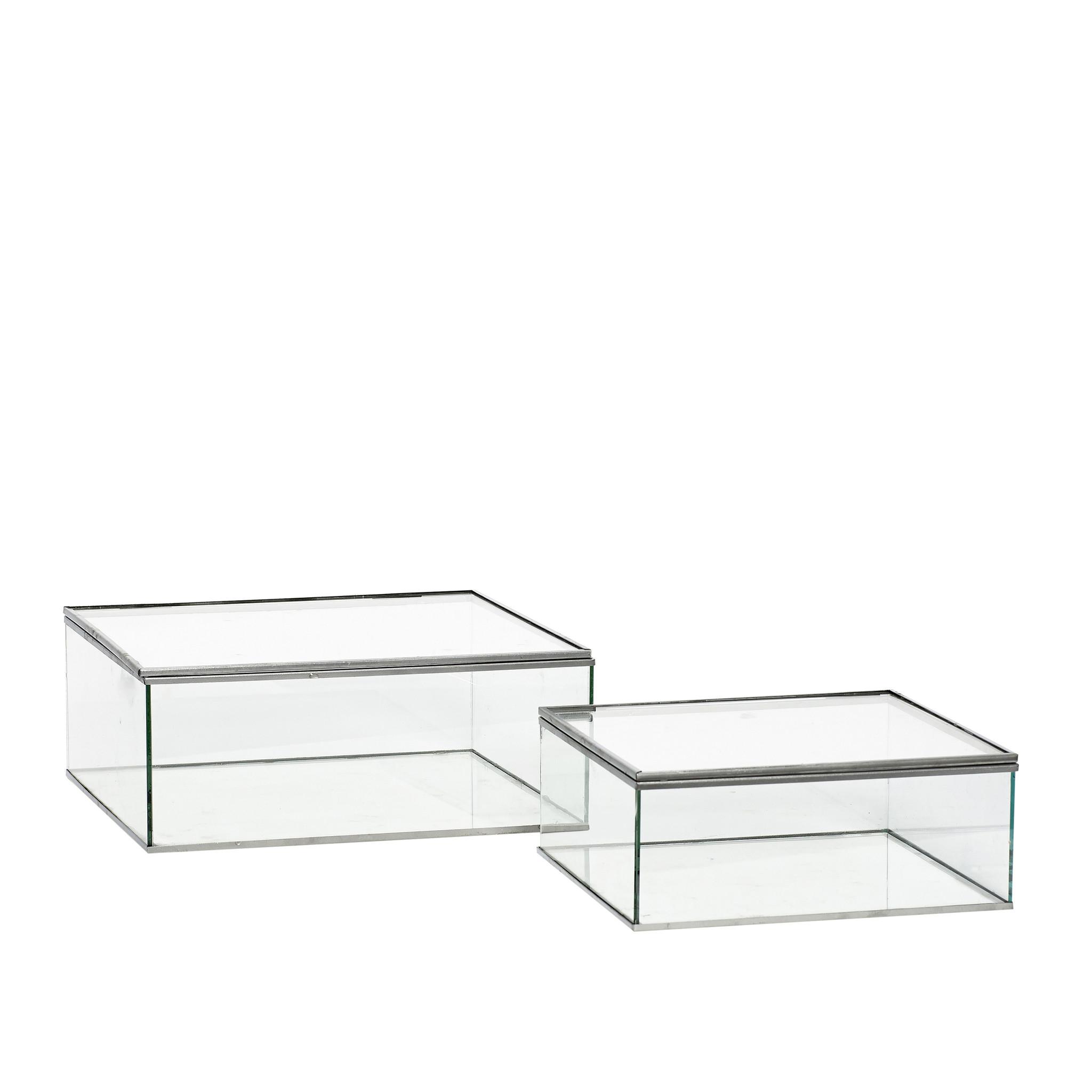 Hubsch Glazen doos met deksel, grijs, set van 2