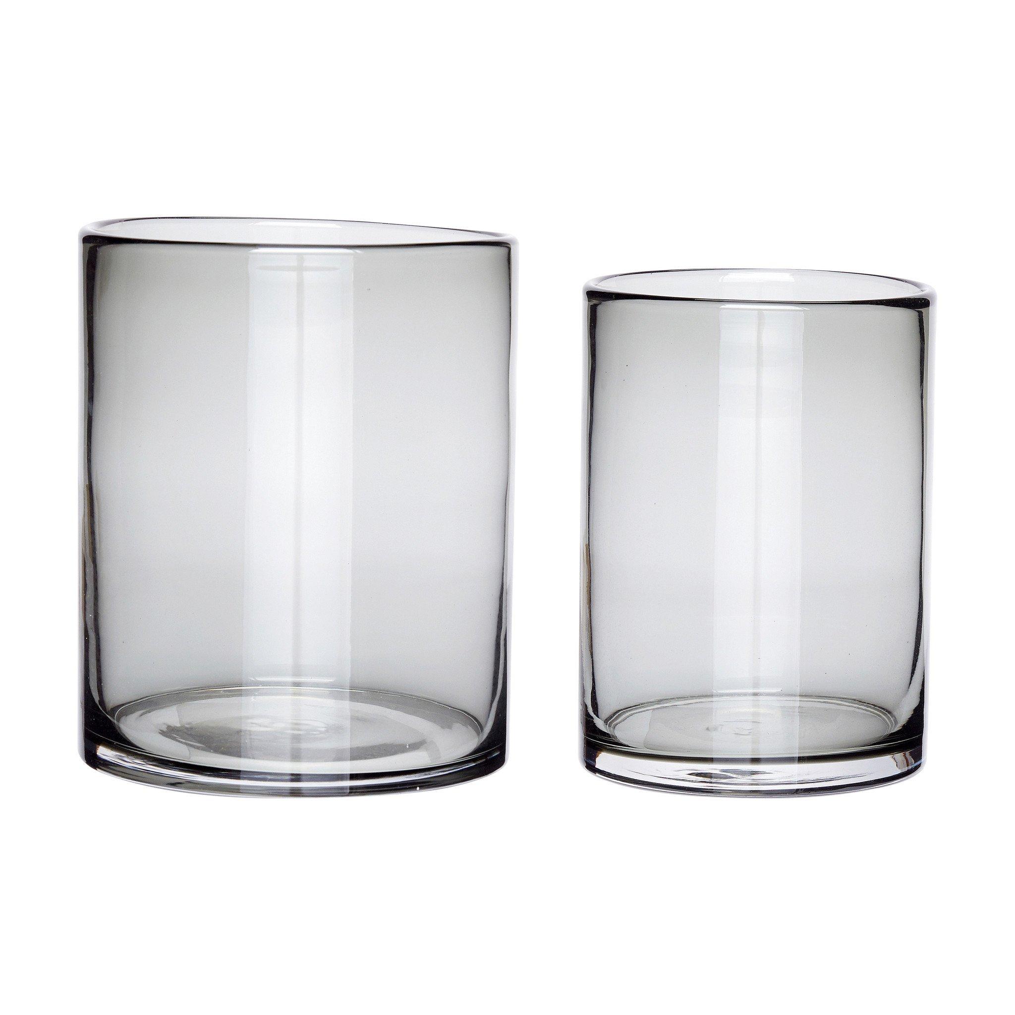 Hubsch Vaas, glas, grijs, set van 2