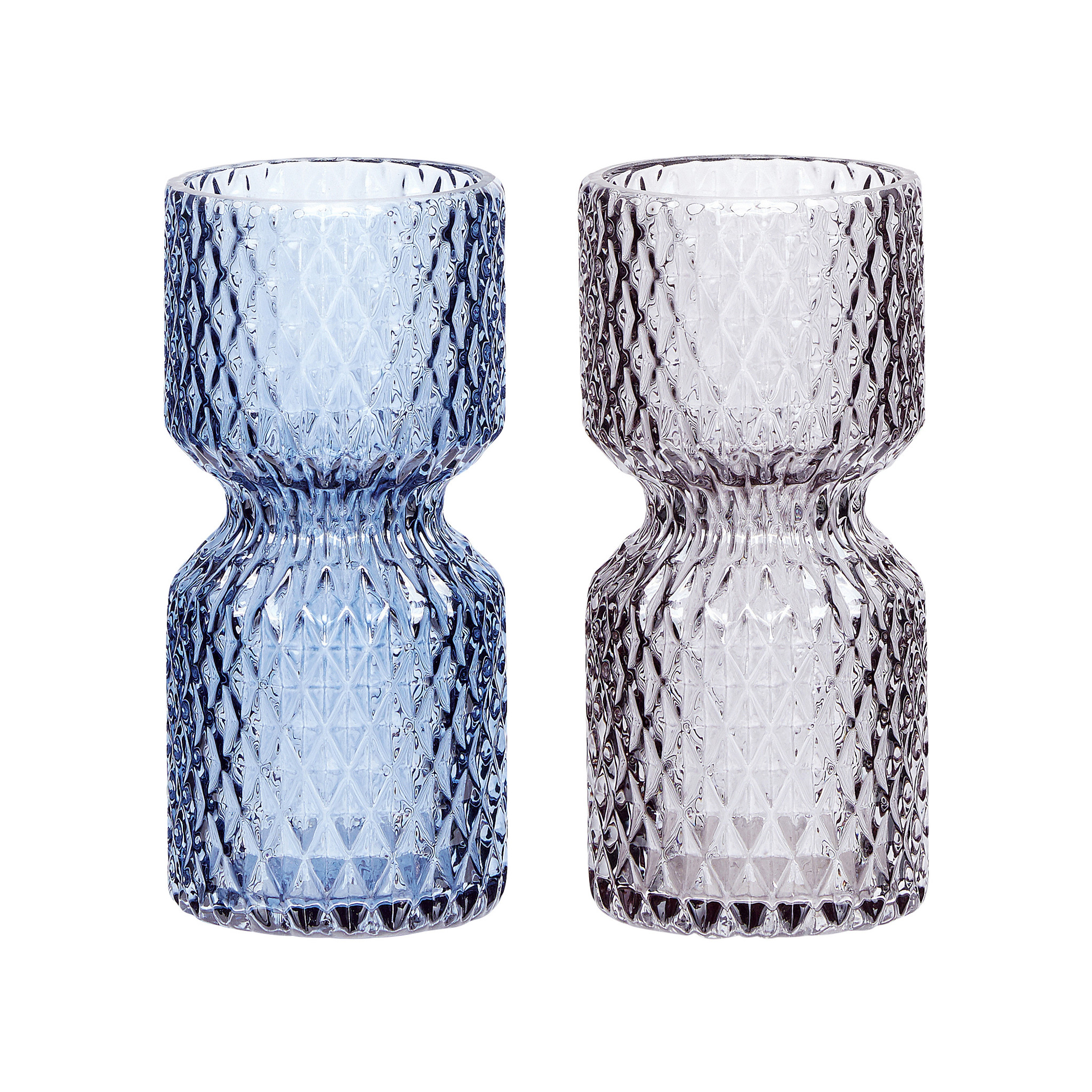 Hubsch Vaas met patroon, glas, blauw / grijs, set van 2-660315-5712772053508