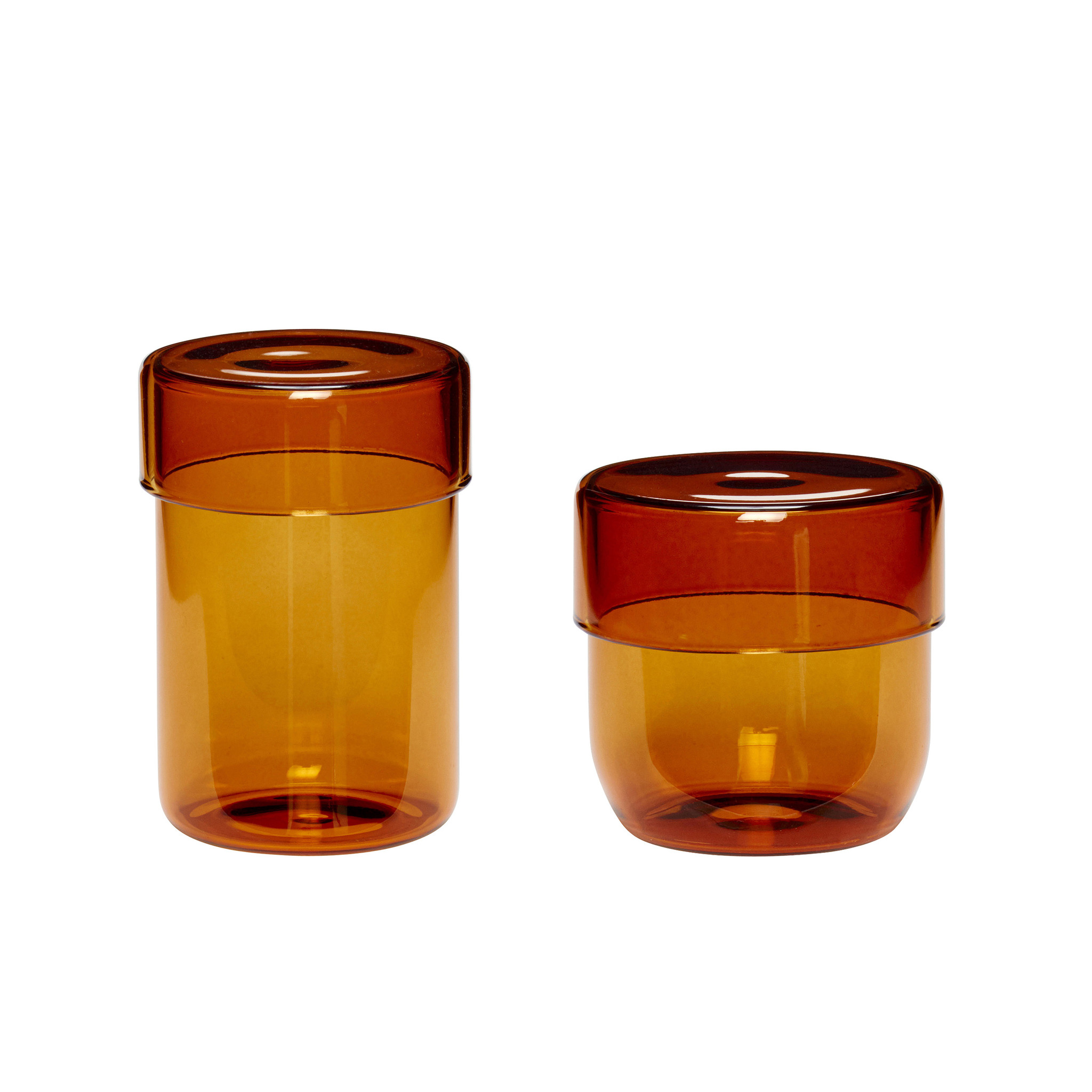 Hubsch Voorraadpot met deksel, glas, barnsteen, set van 2-660907-5712772069929