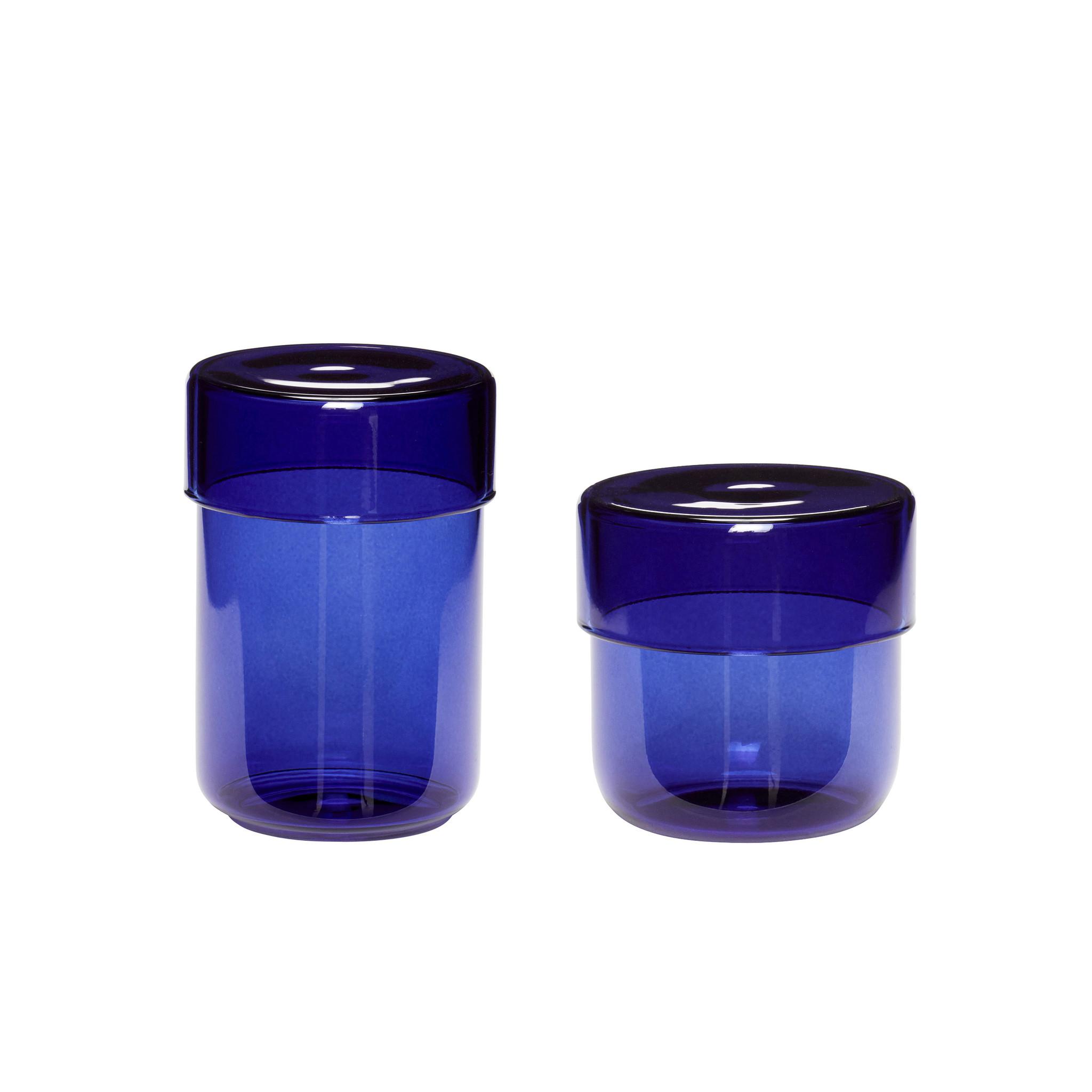 Hubsch Voorraadpot met deksel, glas, blauw, set van 2
