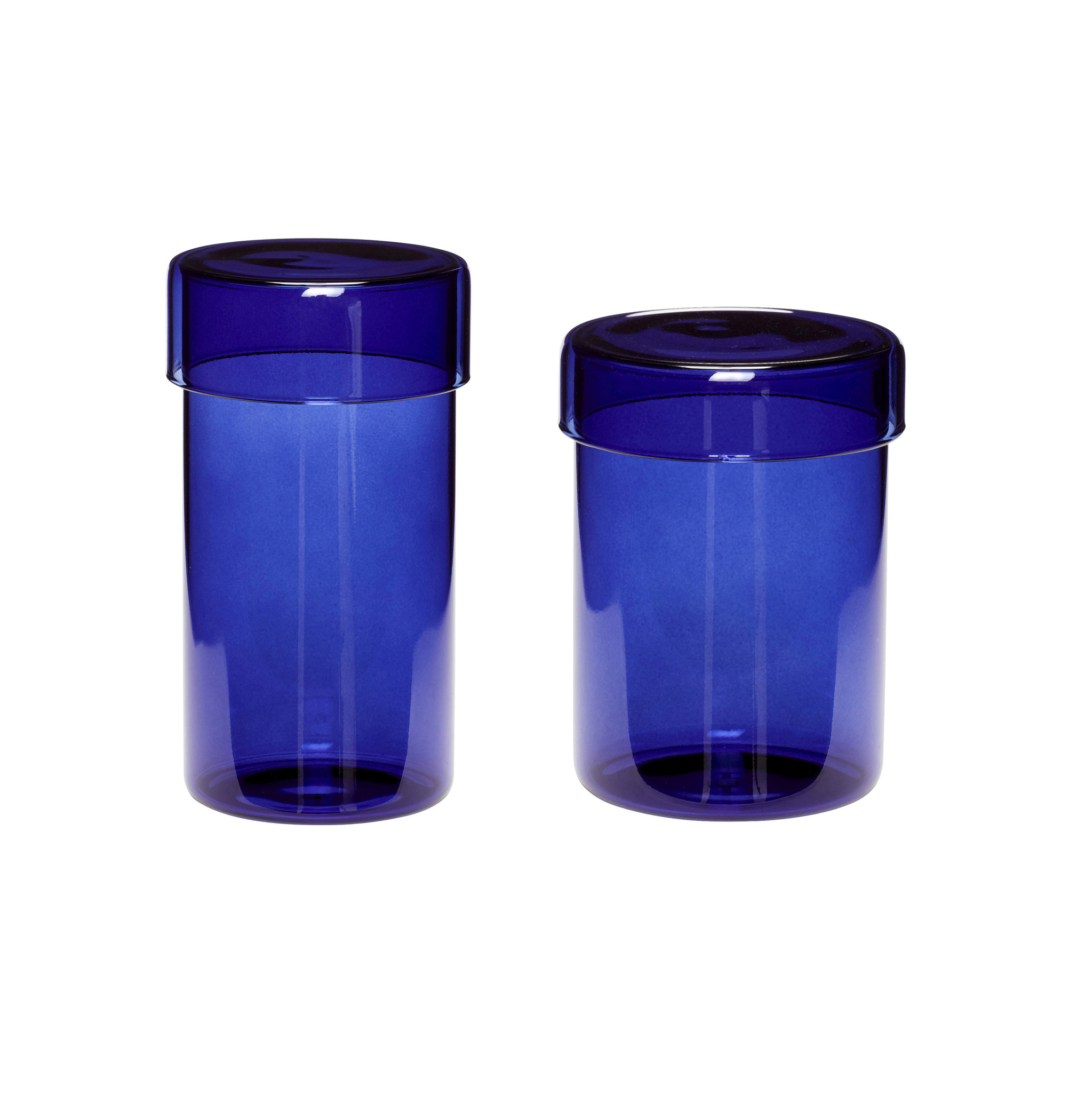 Hubsch Voorraadpot met deksel, glas, blauw, set van 2-660913-5712772070024