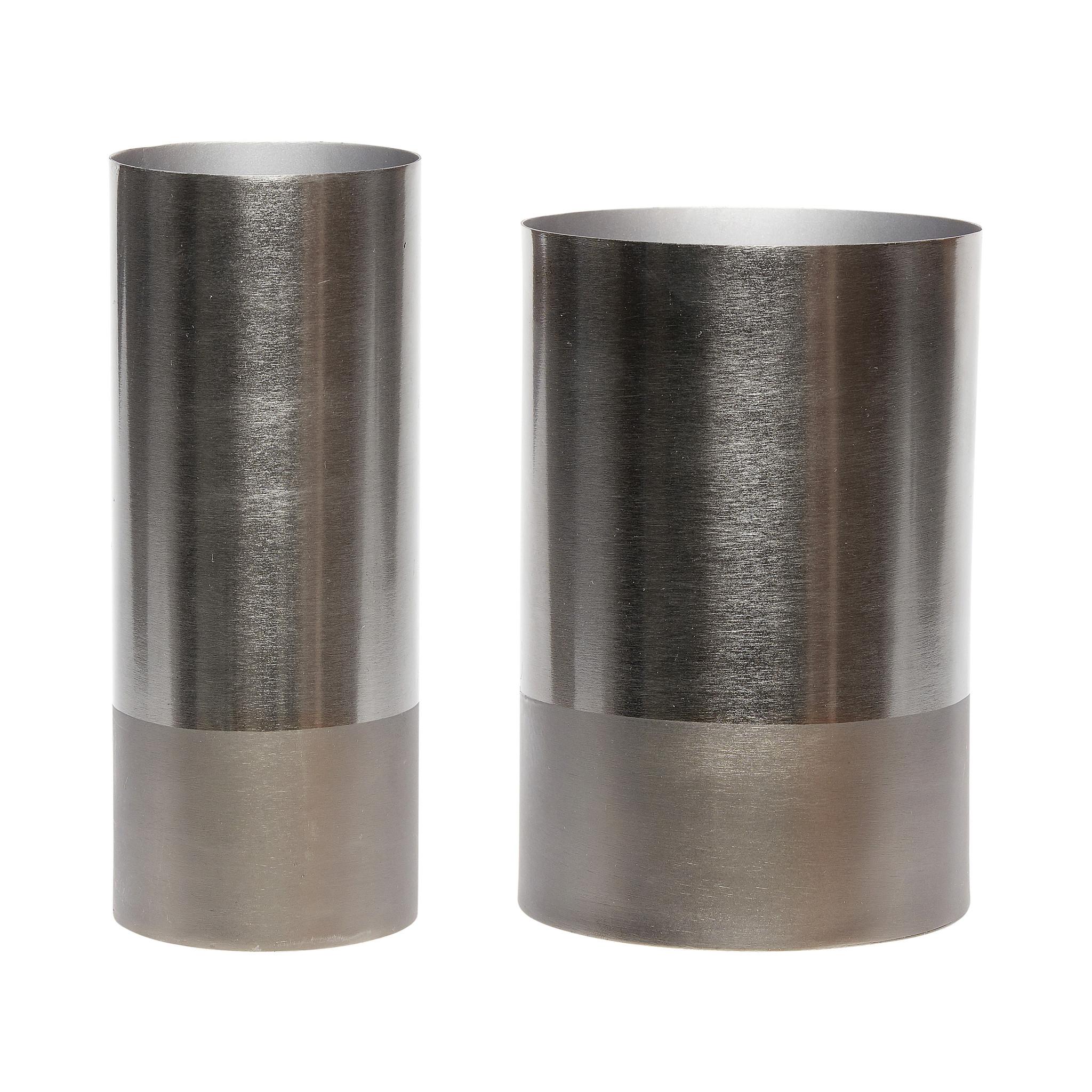 Hubsch Vaas, metaal, grijs, set van 2-670316-5712772054178