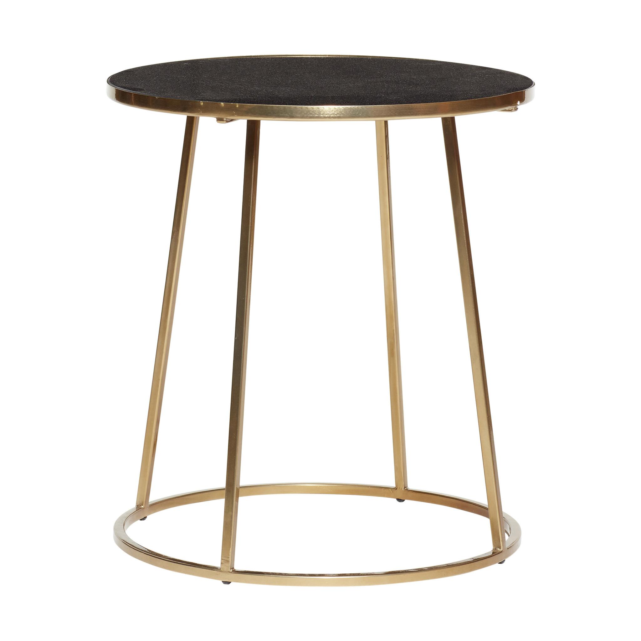 Hubsch Tafel met gouden frame, metaal / marmer, zwart / goud-670320-5712772055038