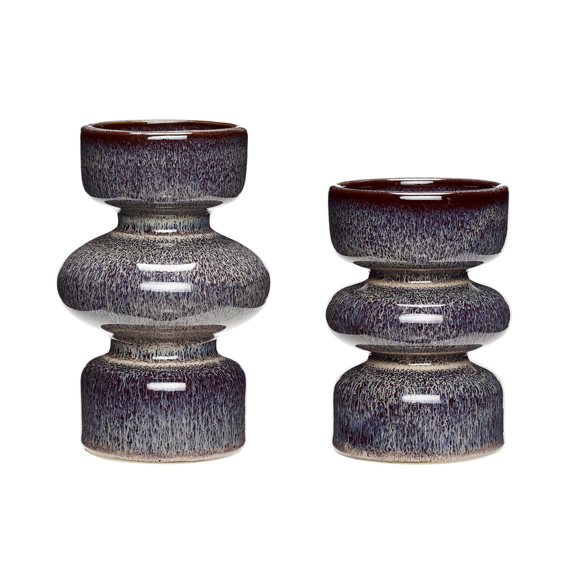 Hubsch Kandelaar, keramiek, pruim, set van 2-670802-5712772055076