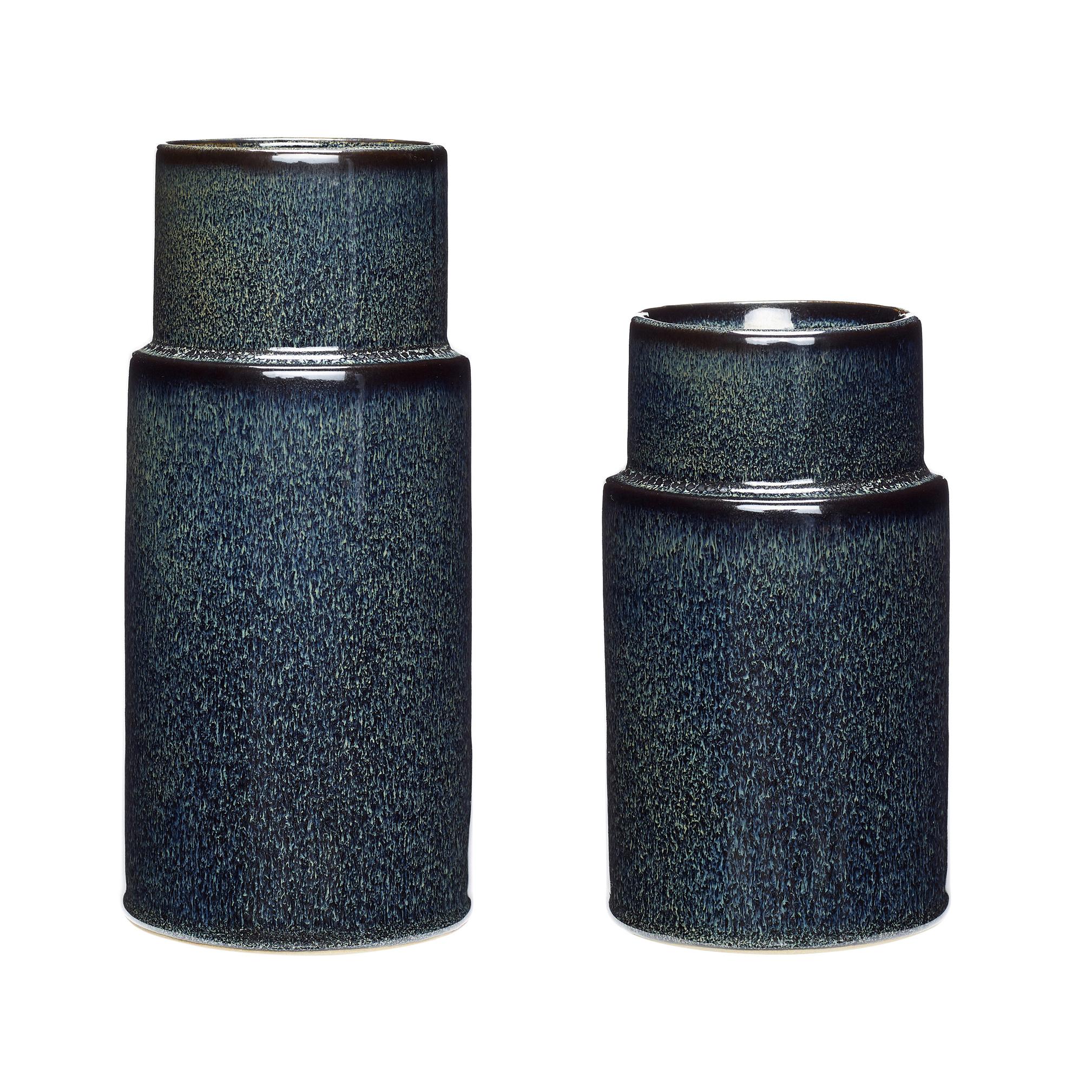 Hubsch Vaas, keramiek, blauw, set van 2