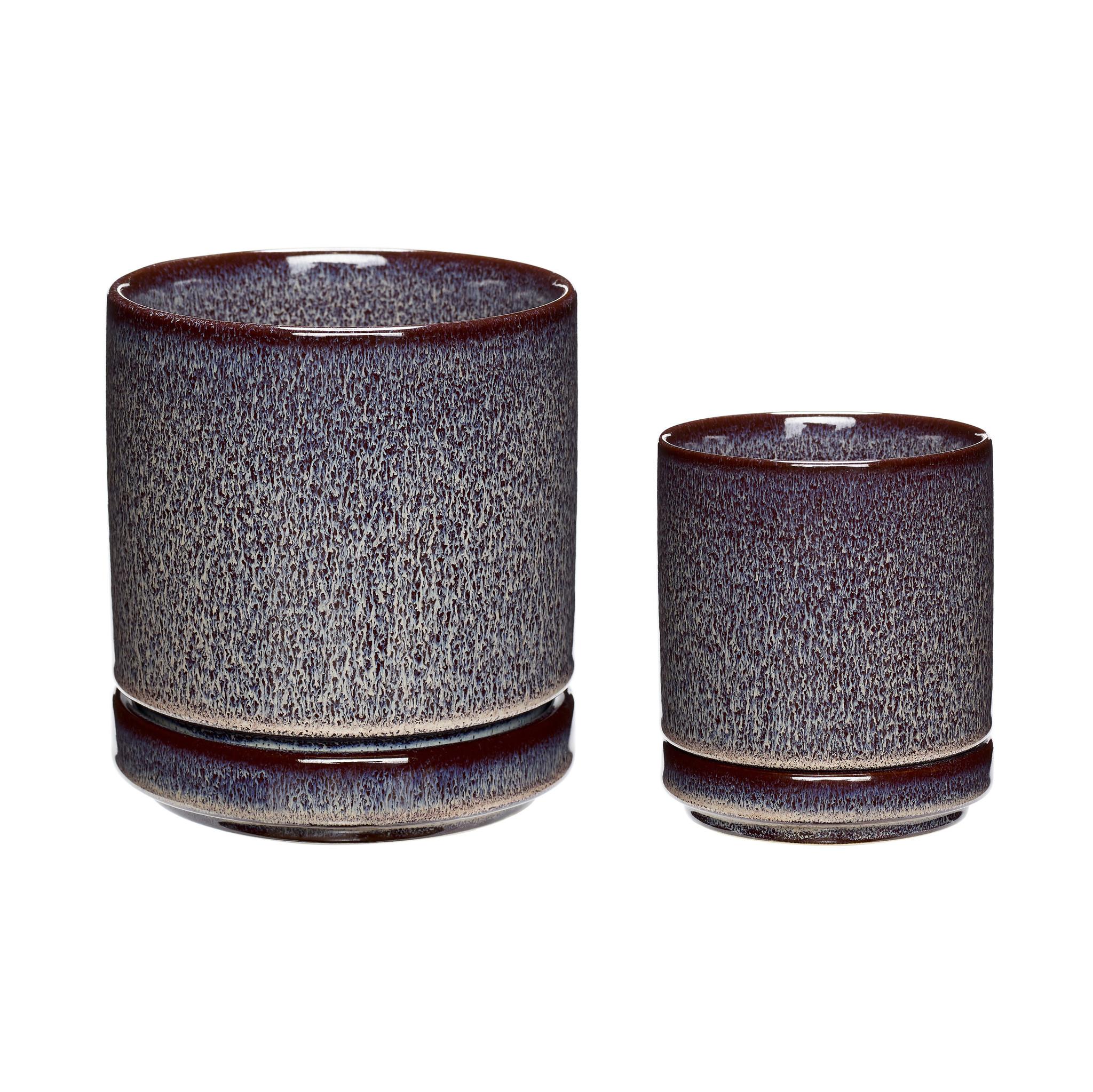 Hubsch Pot, keramiek, pruim, set van 2
