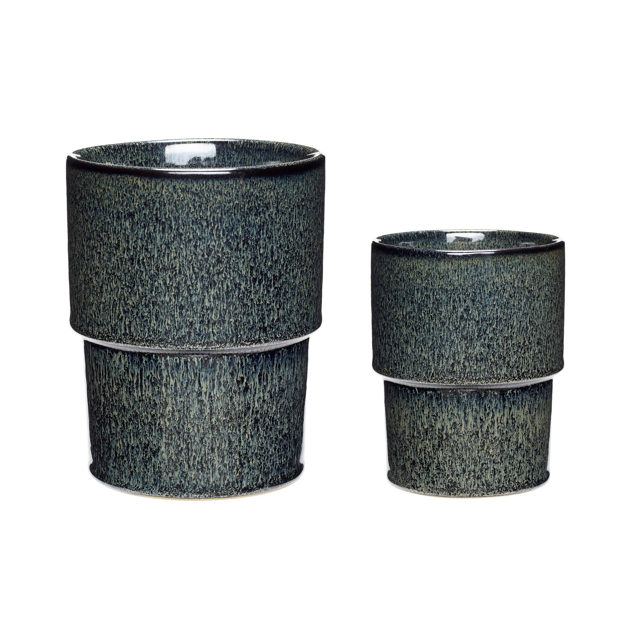 Hubsch Pot, keramiek, blauw / groen, set van 2