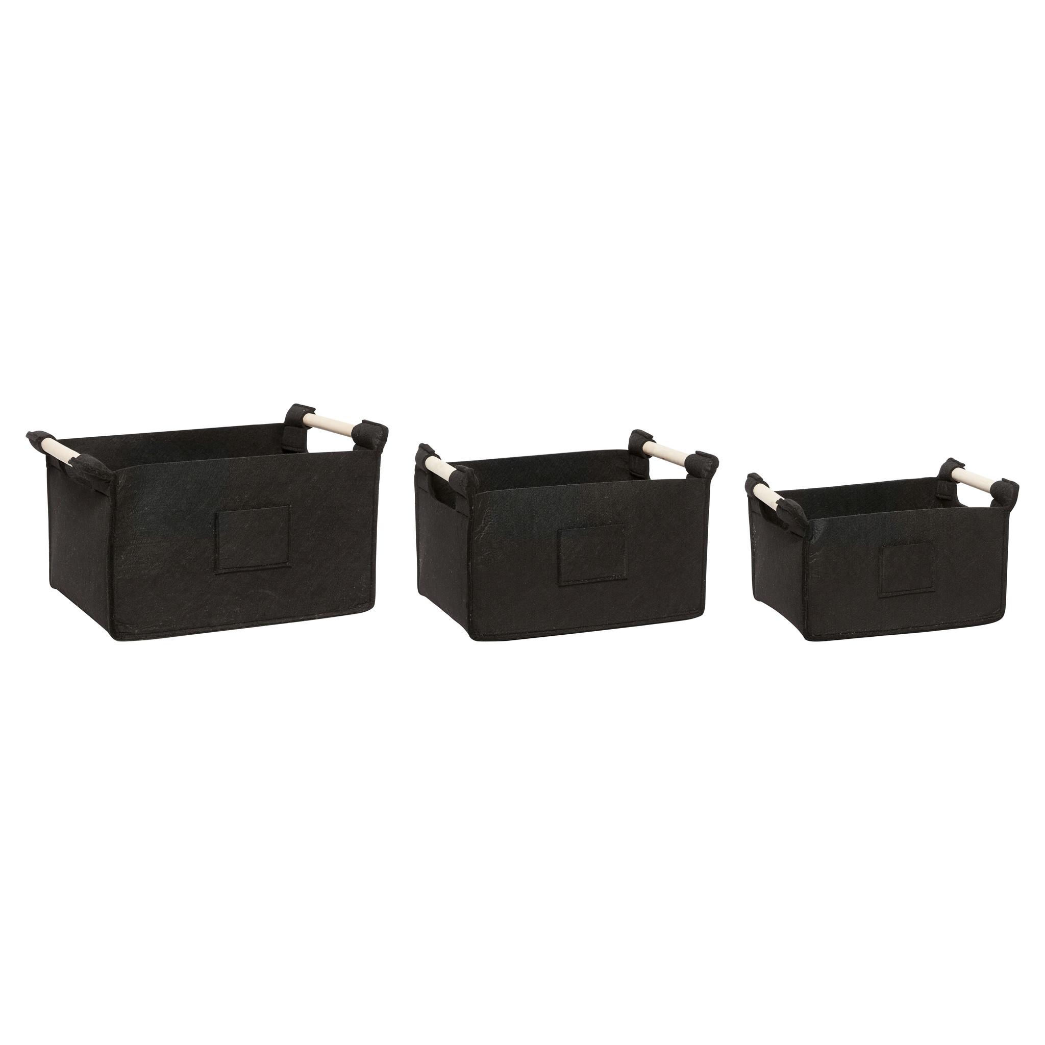 Hubsch Viltmand met houten handvat, zwart, set van 3