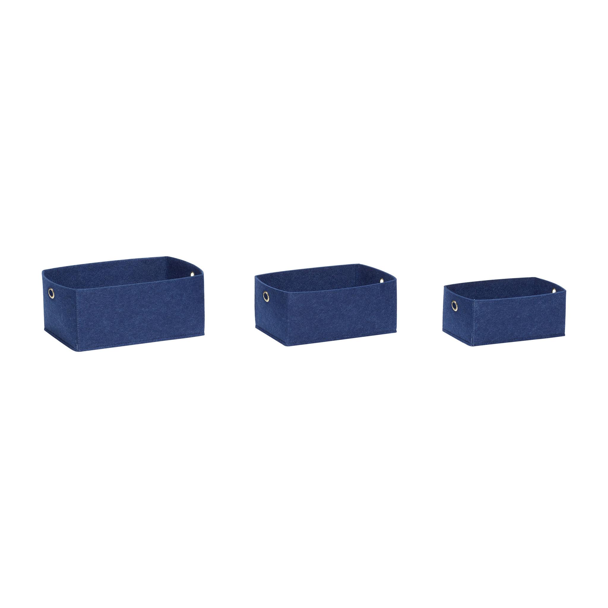 Hubsch Viltmand, blauw, vierkant, set van 3-680604-5712772064542