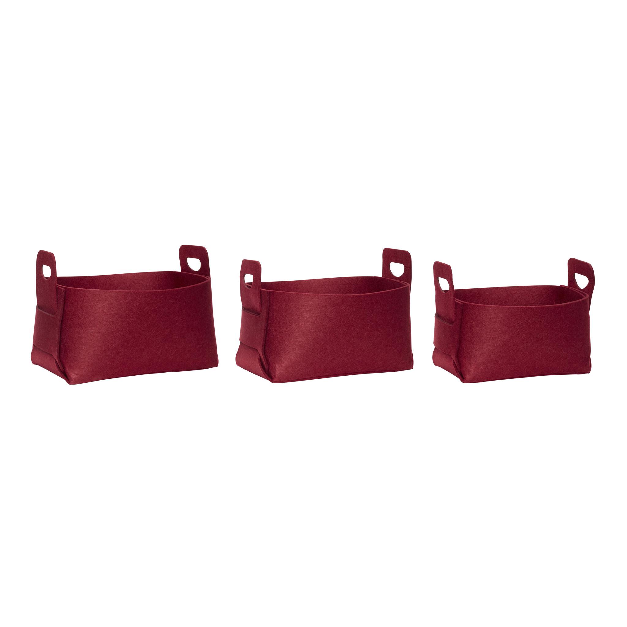 Hubsch Viltmand, vierkant, rood, set van 3