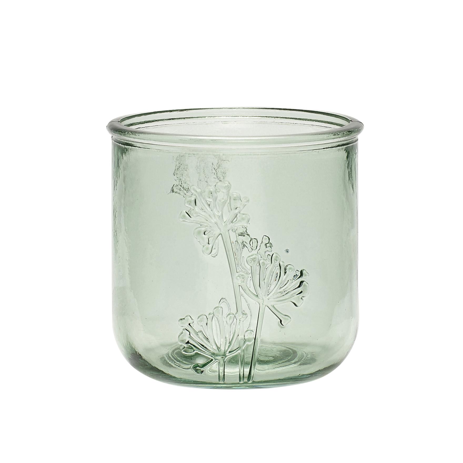 Hubsch Theelichtglas, gerecycled glas, groen-690106-5712772070345
